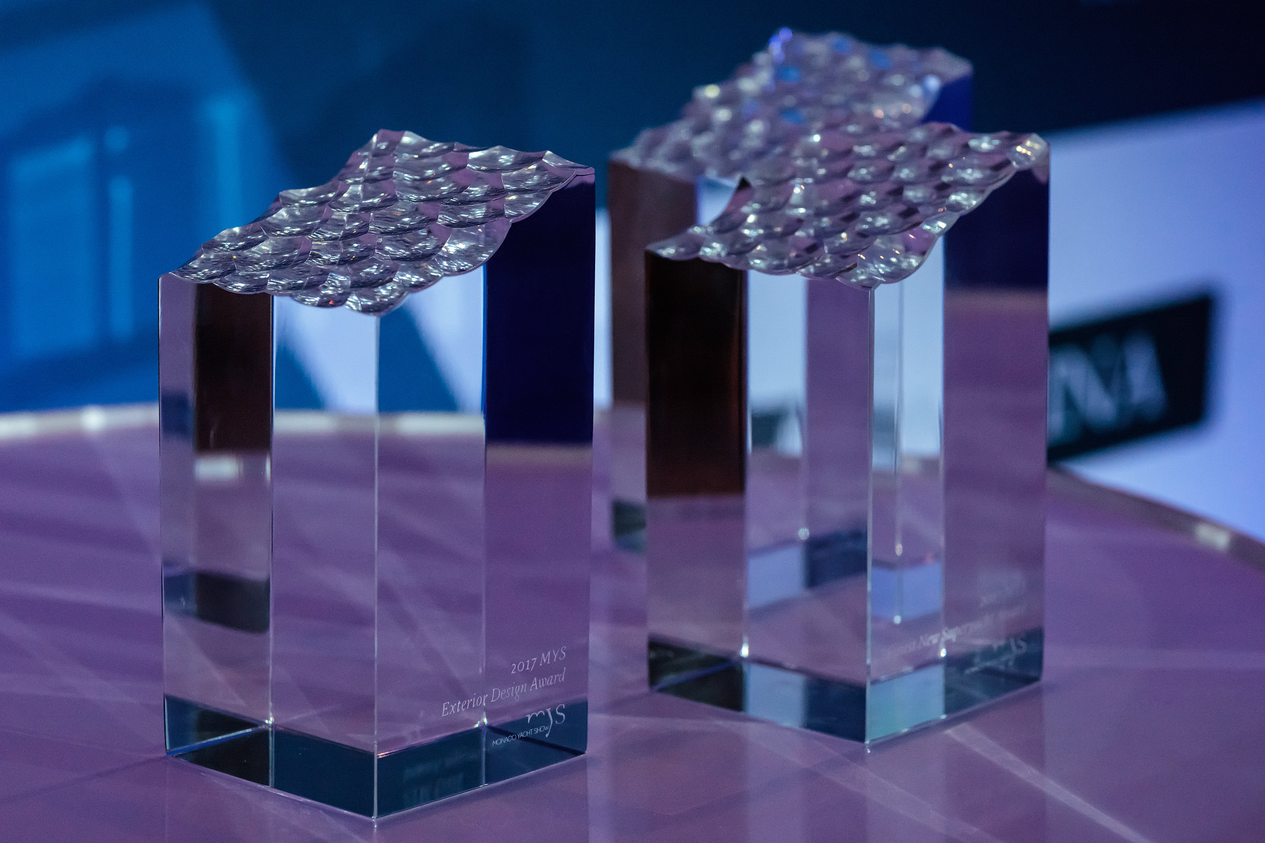 Monaco Yacht Show 2017 Award Trophies designed and crafted by Ⓒ  Preciosa
