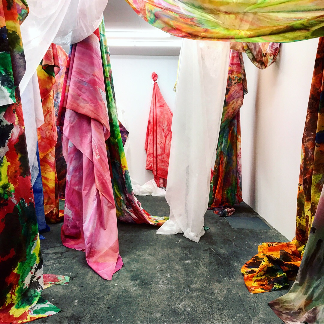 Sam Gilliam,  Untitled  drape works, 2018 on display at David Kordansky Gallery, Basel  Unlimited 2018 Acrylic-on-Cerex nylon