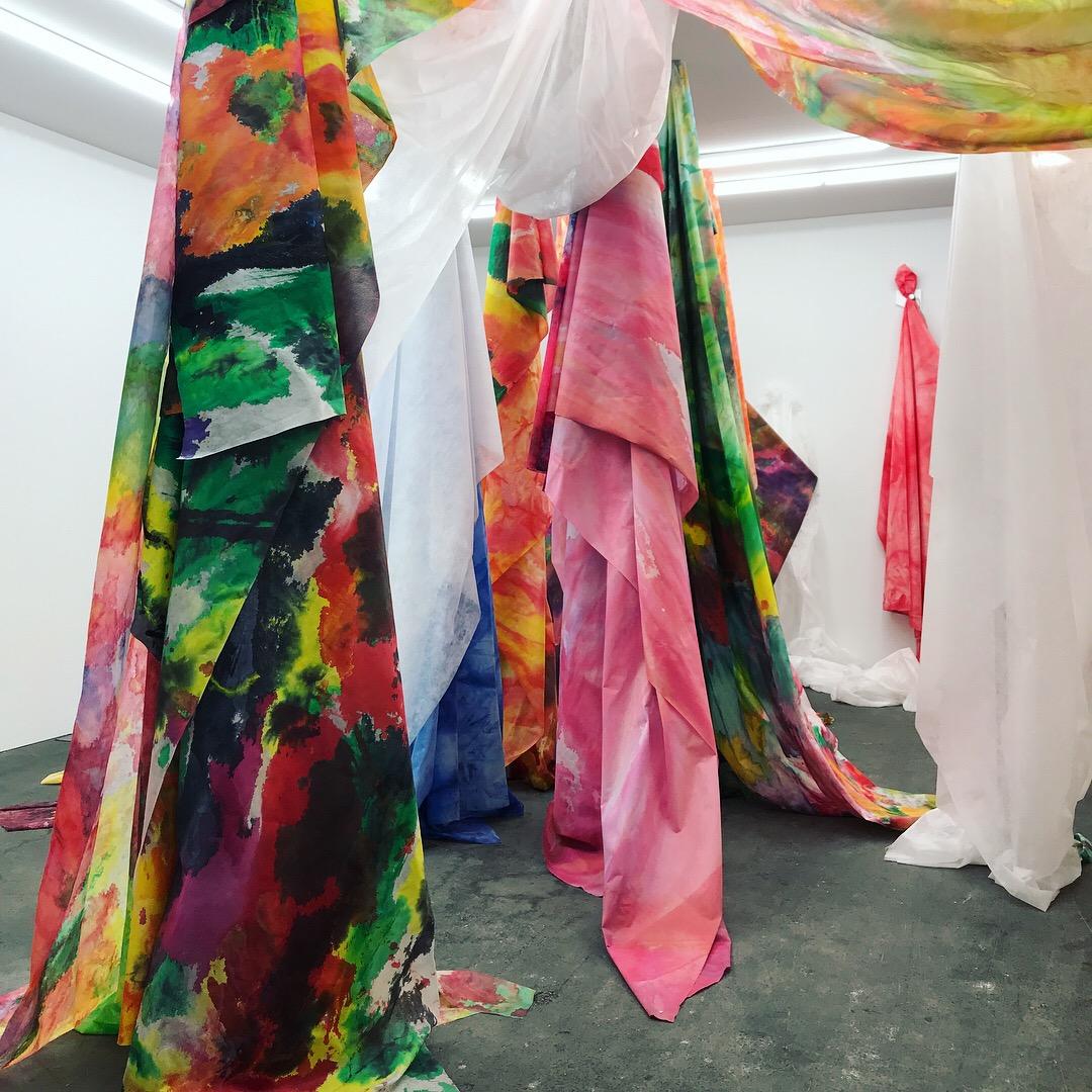 Sam Gilliam,  Untitled  drape works, 2018 on display at David Kordansky Gallery - Basel  Unlimited 2018 Acrylic-on-Cerex nylon