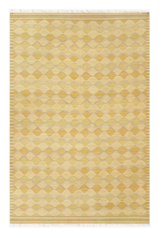 Spättan carpet designed, Sweden, 1943, on display at Nilufar stand, Design Miami 2018  Design: Barbro Nilsson Manufactured by AB Märta Måås-Fjetterström Signed AB MMF BN; Hand woven Wool; Size: 300 x 452 cm / 118.1 x 177.9 in  ⓒ Nilufar Gallery