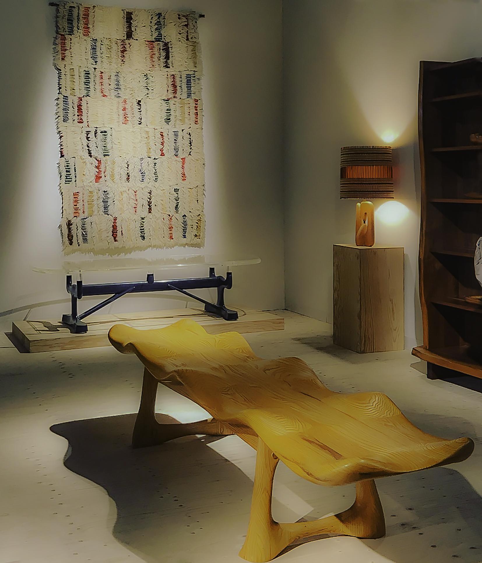 Galerie Eric Philippe - DesignMiami/ Art Basel; on display Peter Danko oak bench, USA 1973 (center) Ingrid Hellman-Knafve rug, Sweden, circa 1950, Paul Laszlo lucite dark gray-blue lacquered wood and steel bench, USA 1958 (background)