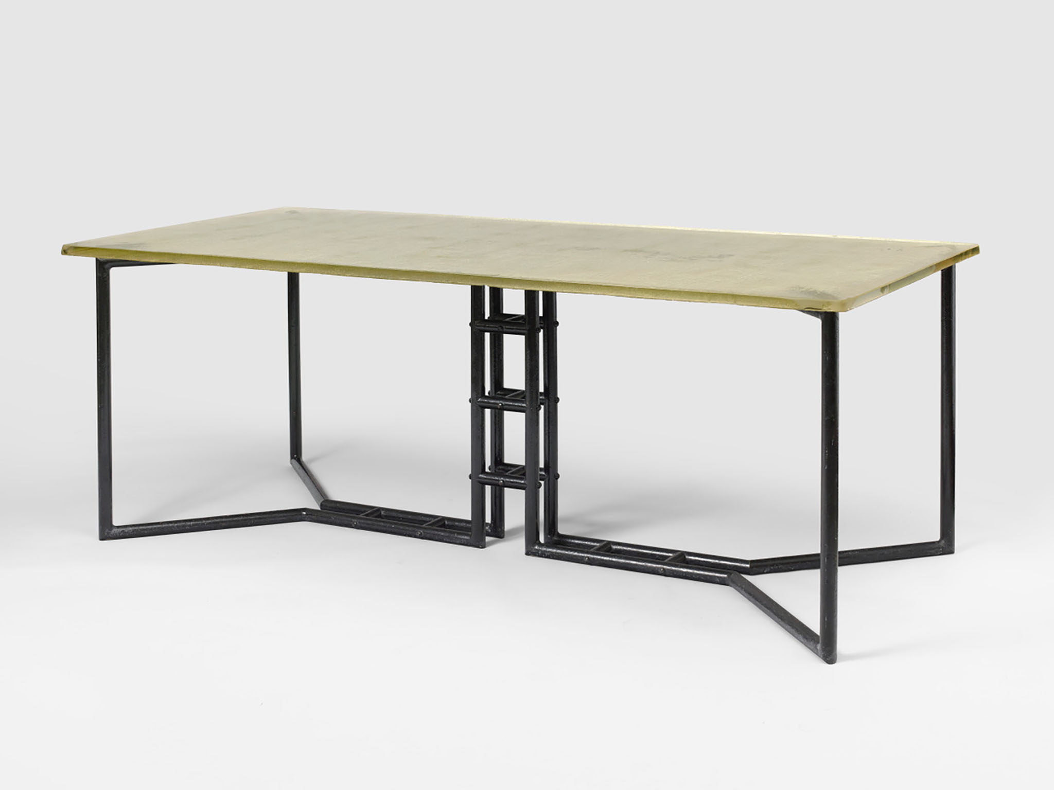 Pierre Chareau, Dining Table ca. 1932  Glass and painted metal; size: 70 x 80 x 80 cm Courtesy of Jacques Lacoste Gallery ⓒ  Hervé Lewandowski