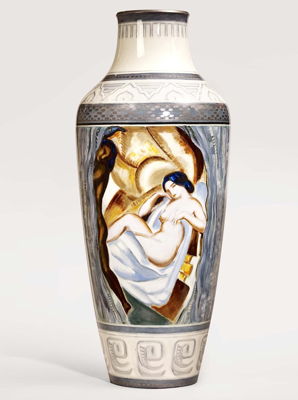 Important Art Deco vase made at Manufacture Nationale de Sevres, 1926 -36 Porcelain, 37 x 37 x 90 cm  Courtesy of Robert Zehil Gallery
