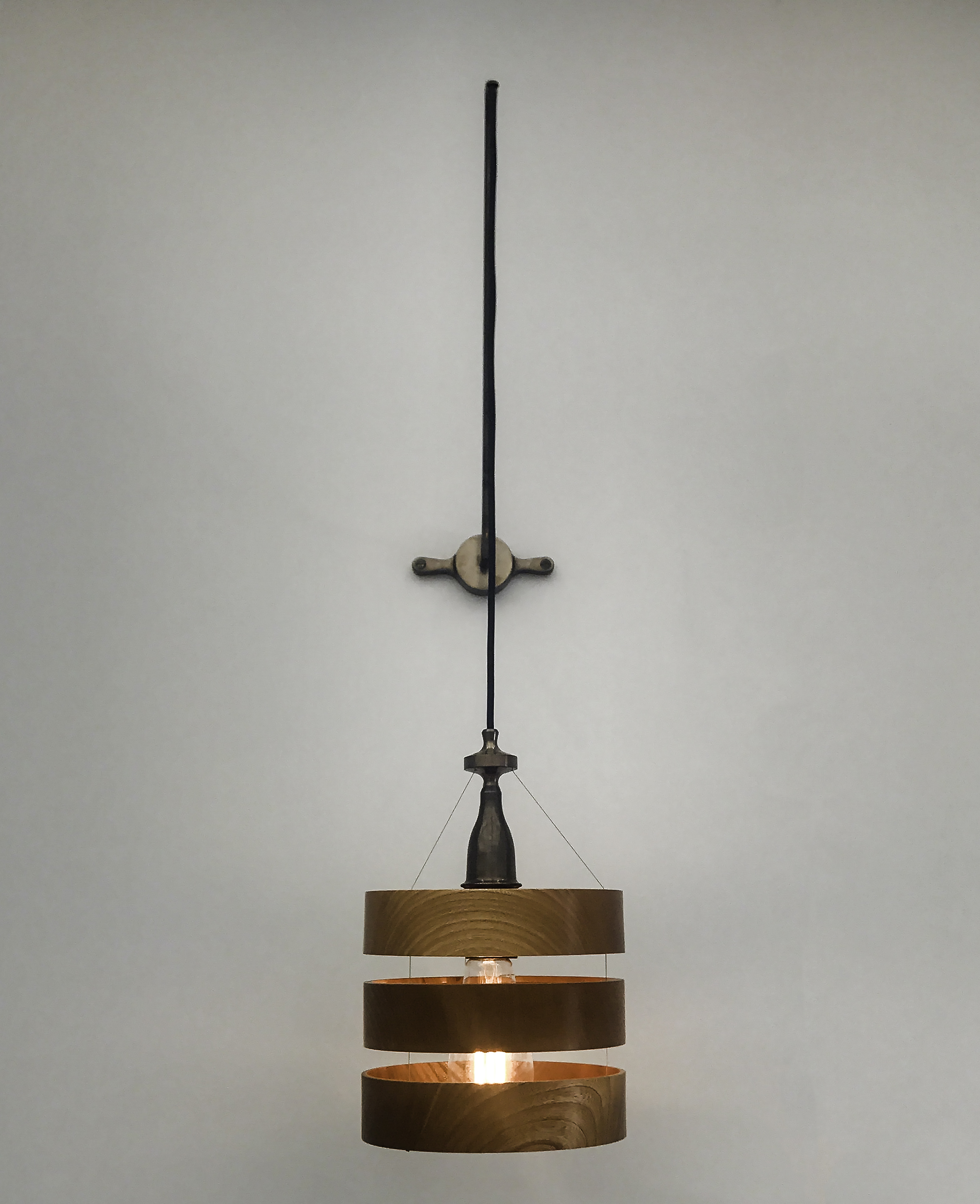 Treoran  wall light  Wood, blackened brass; hand finished with natural oils and wax.