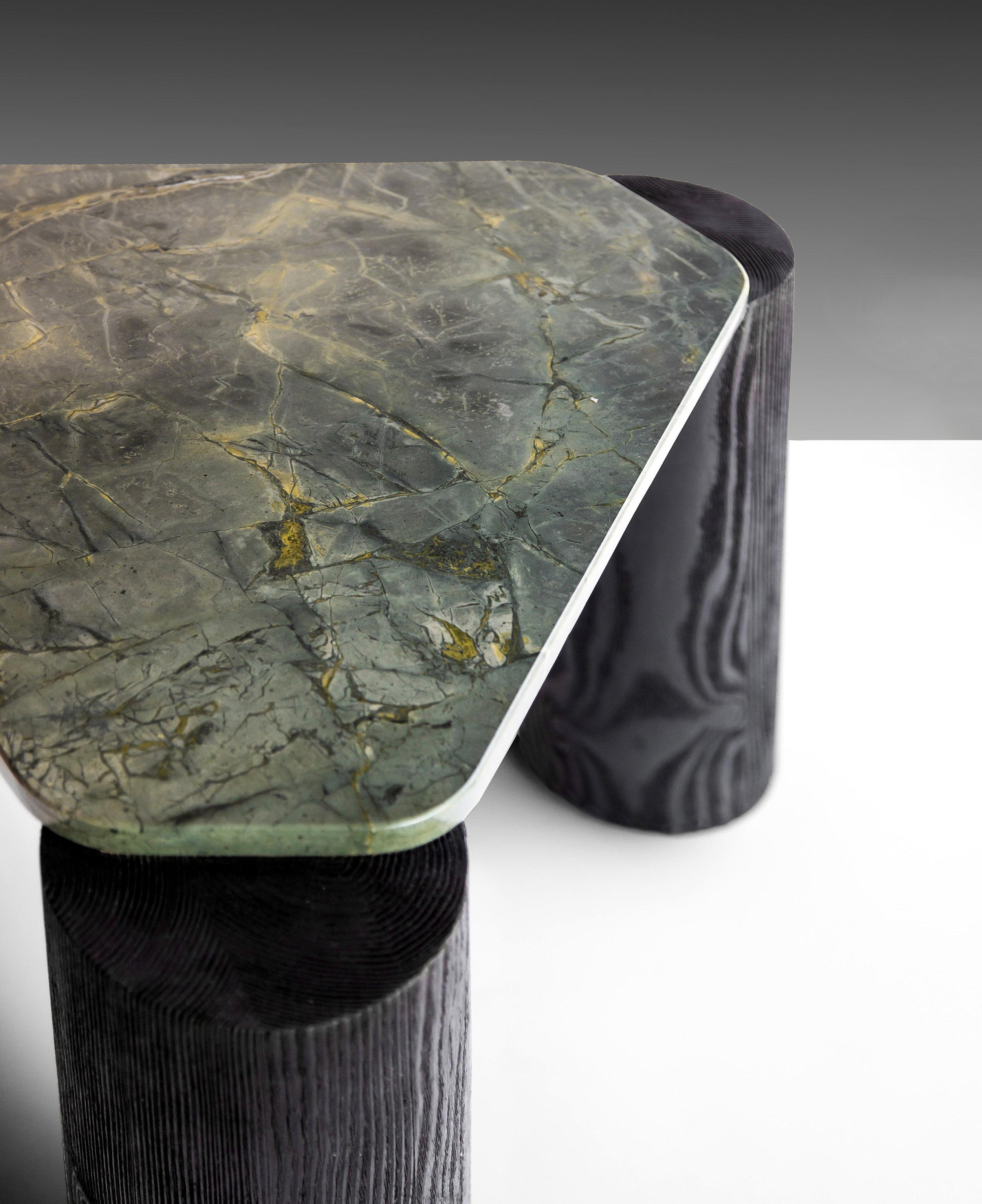 Verde Magnifico side table Marble top detail © Niel Vosloo