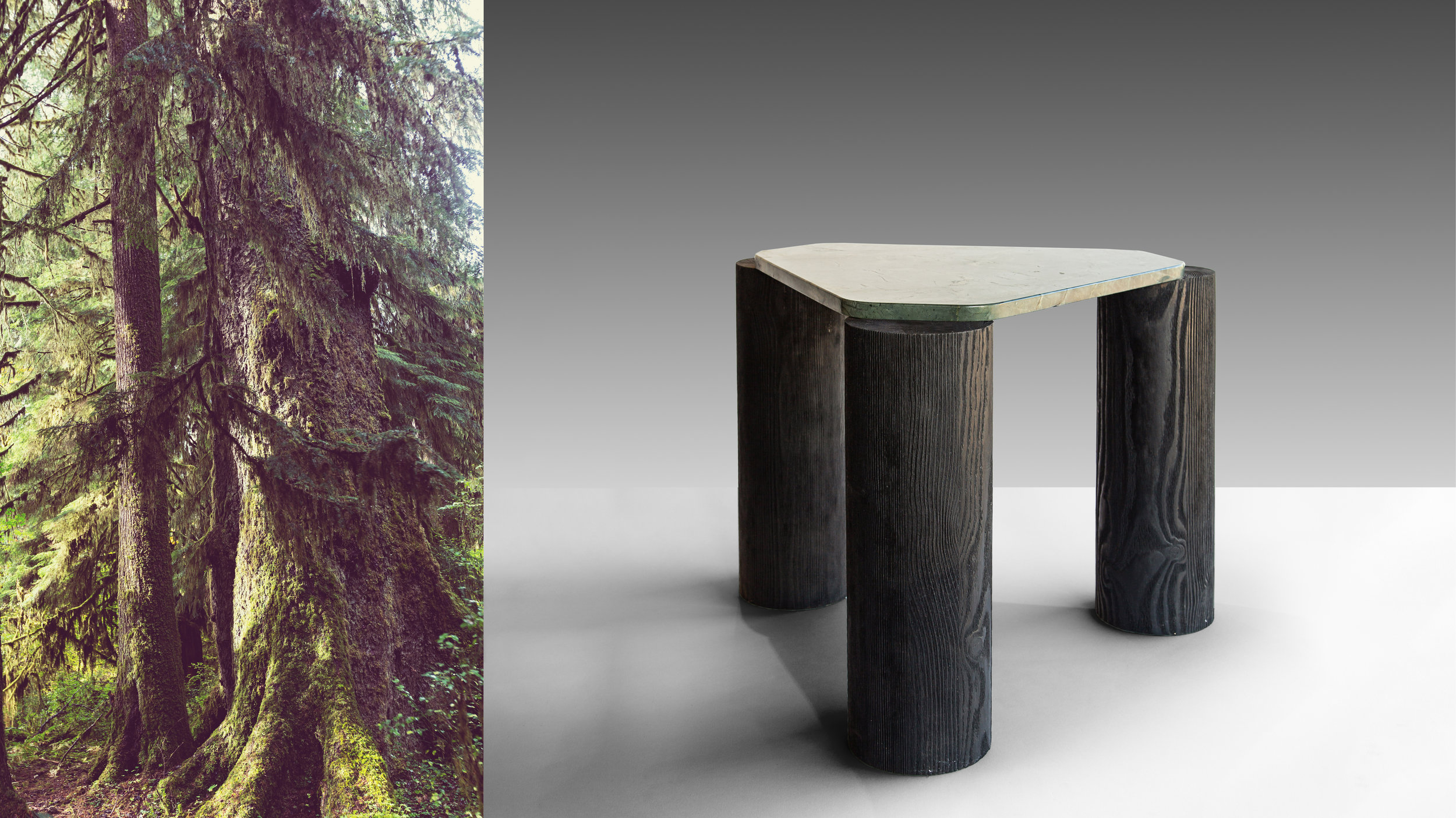 Made of Larch tree, a conifer growing mainly in Siberia and Canada's boreal forests, the table legs are over-scaled and wire-brushed to emphasise their graphic carbon stained detail. ©  Niel Vosloo