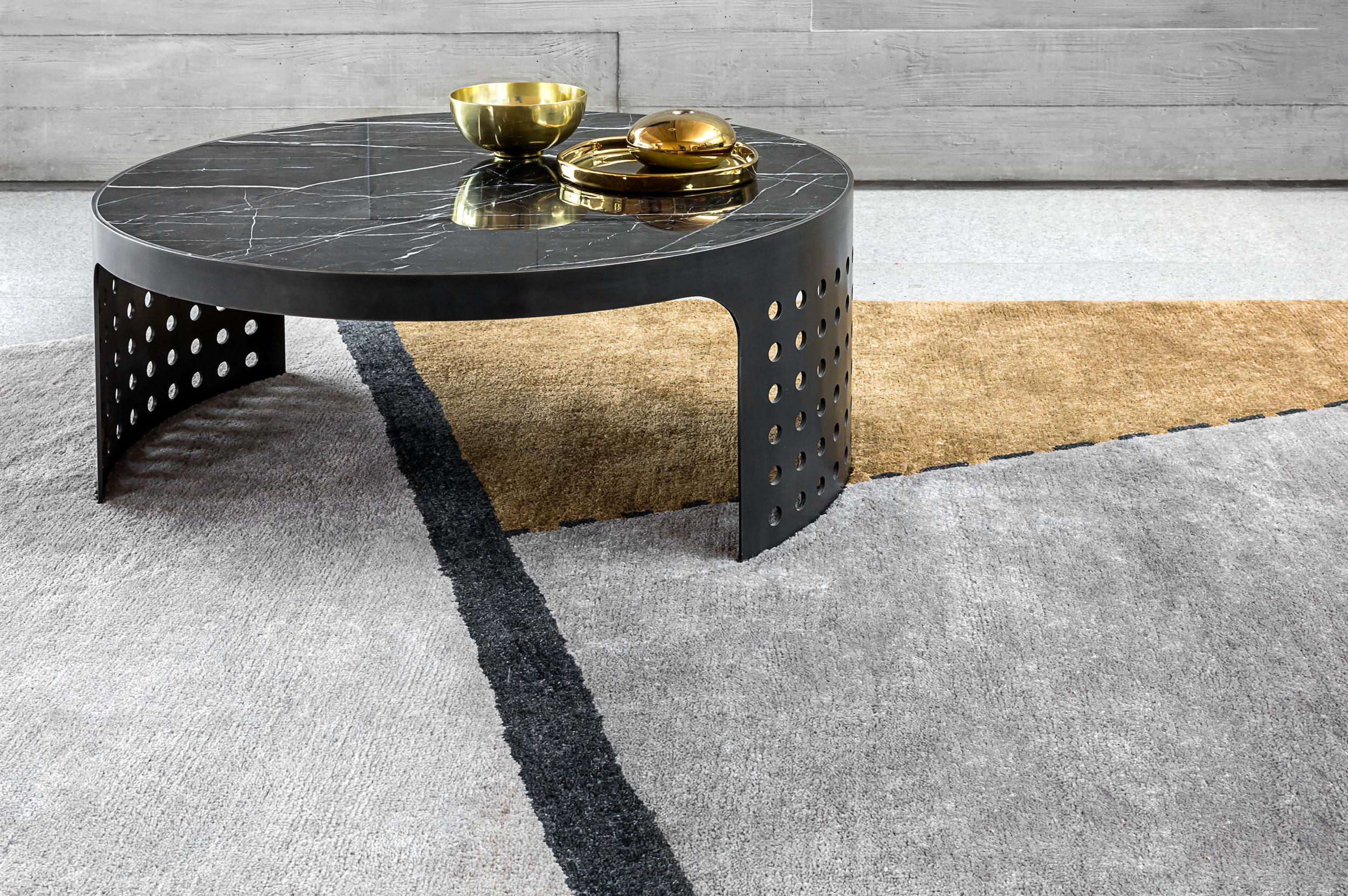 Oblique rug & Silo Coffee Table, detail © Niel Vosloo