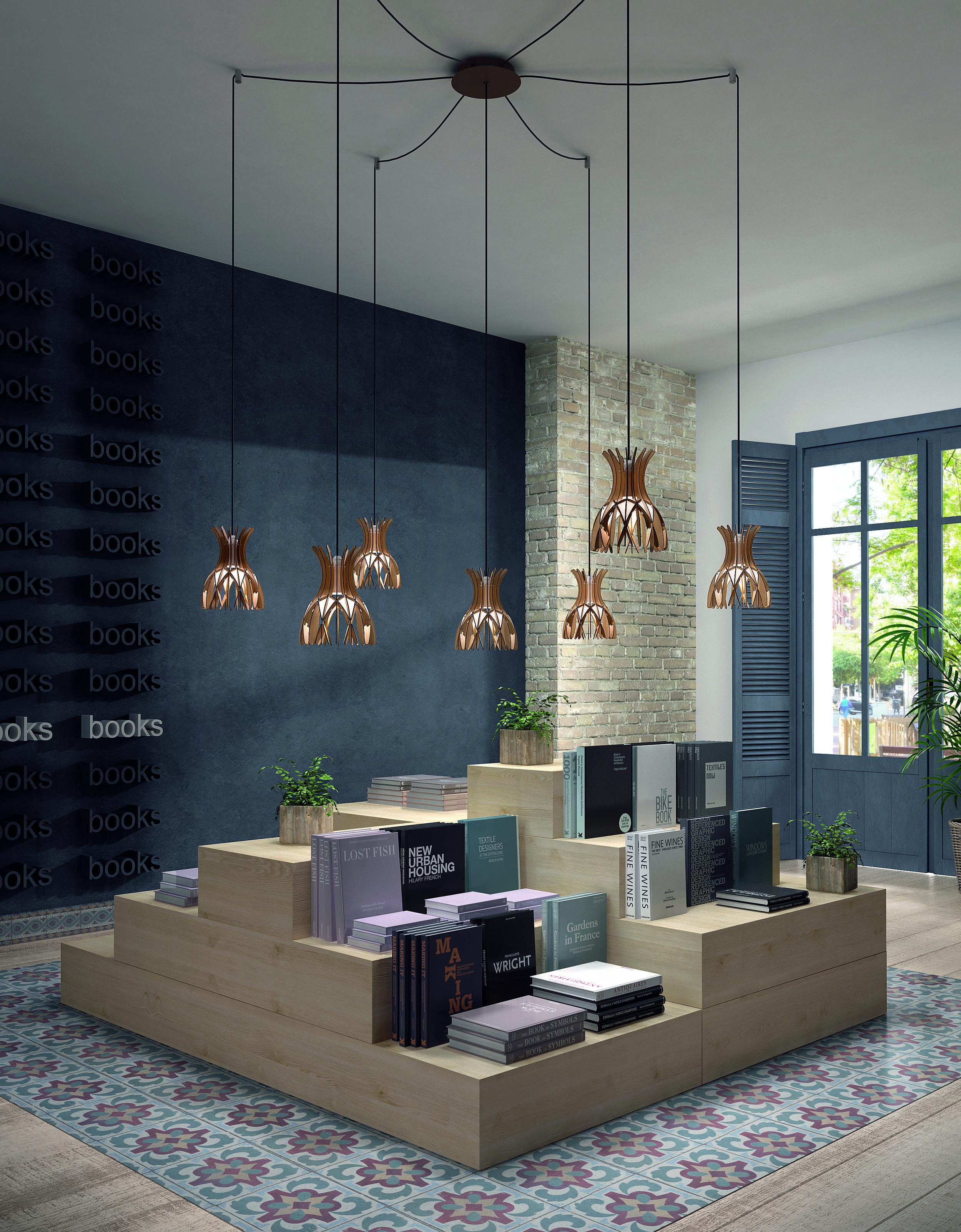 Domita  S/20/7L pendant light, Euroluce 2019 ⓒ Bover Design:  Benedetta Tagliabue  and Joana Bover