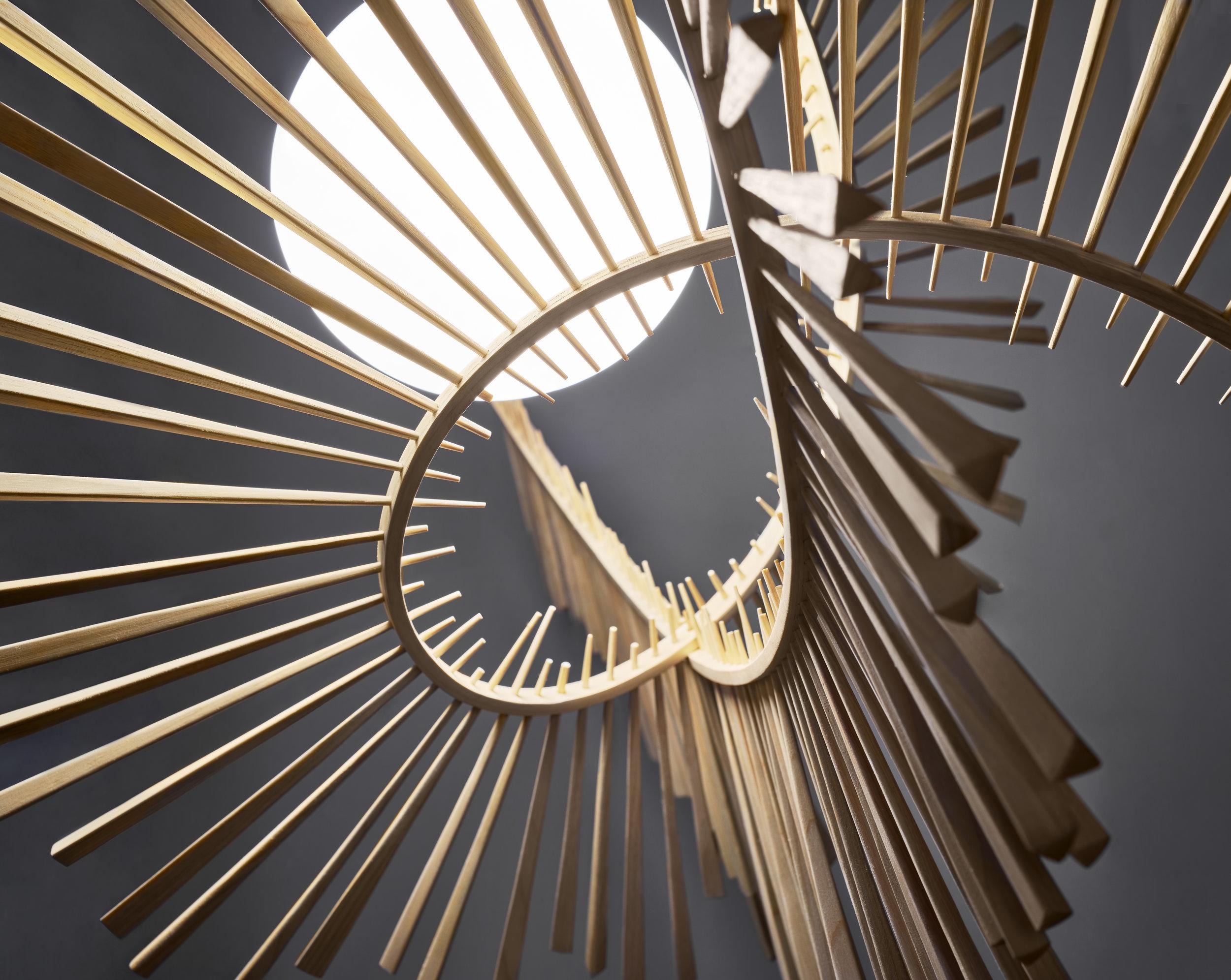 Aimei  pendant lamp detail, ash wood, 2019 ⓒ Arturo Álvarez Design: Arturo Álvarez