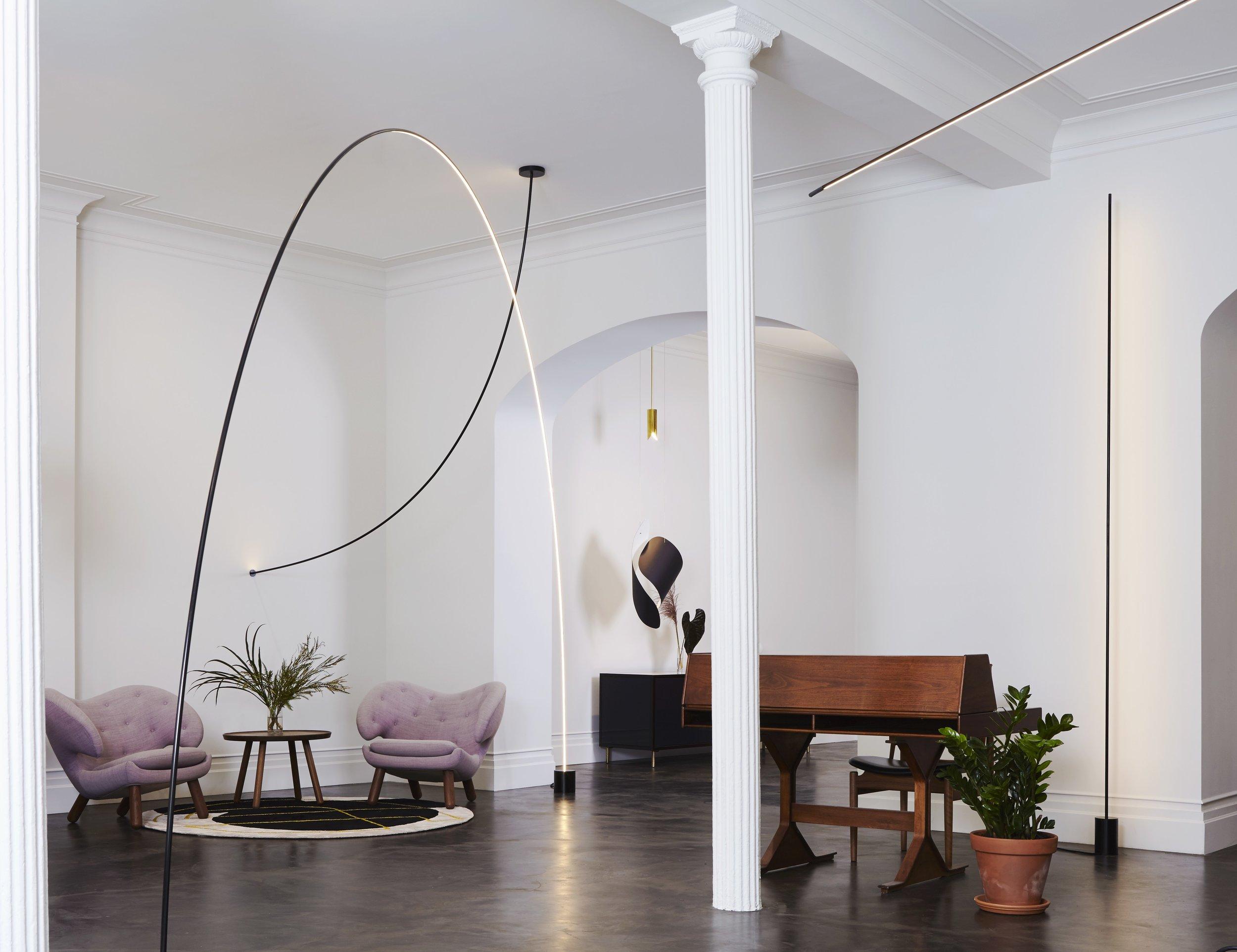 Pole  floor light in situ © Joseph De Leo Design: Philippe Malouin
