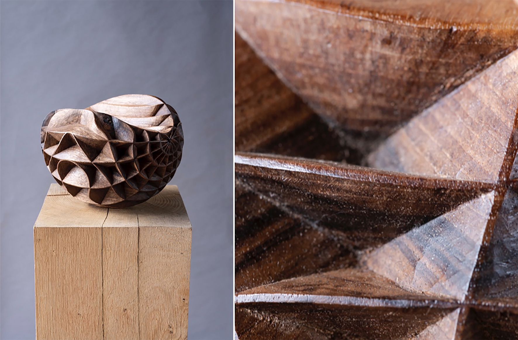 Artist: Alison Crowther   Incised Walnut II , 2018 Unseasoned English Walnut 15 W x 20 W x 20 D cm ⓒ Jacqui Hurst Alison Crowther's series of sculptures  Incised Walnut  was on display at Sarah Myerscough Gallery booth -Masterpiece London, 2019.