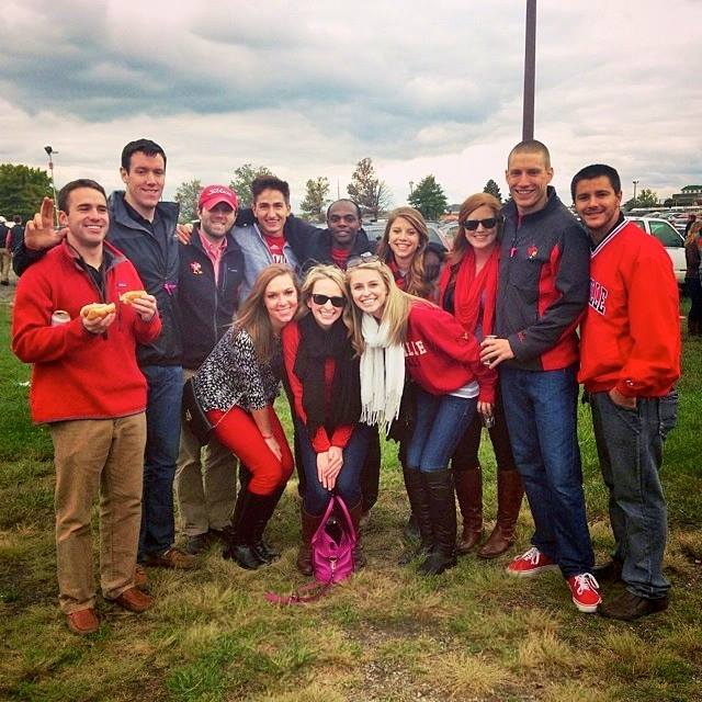 Alumni Andrew Becht, Jamie Alvey, David Osborne, Keena Westmoreland, Mitchell Buller, and Chris Downs at Alumni Tailgate on 10/18/2014.