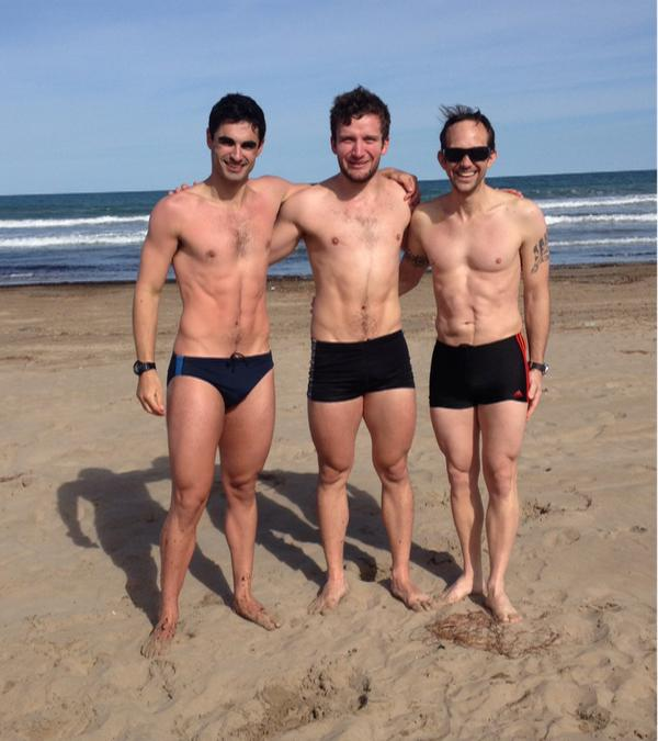 A chilly 12 degree swim at Valencia Beach. Kian Emadi, Callum Skinner and Justin Grace (new coach).