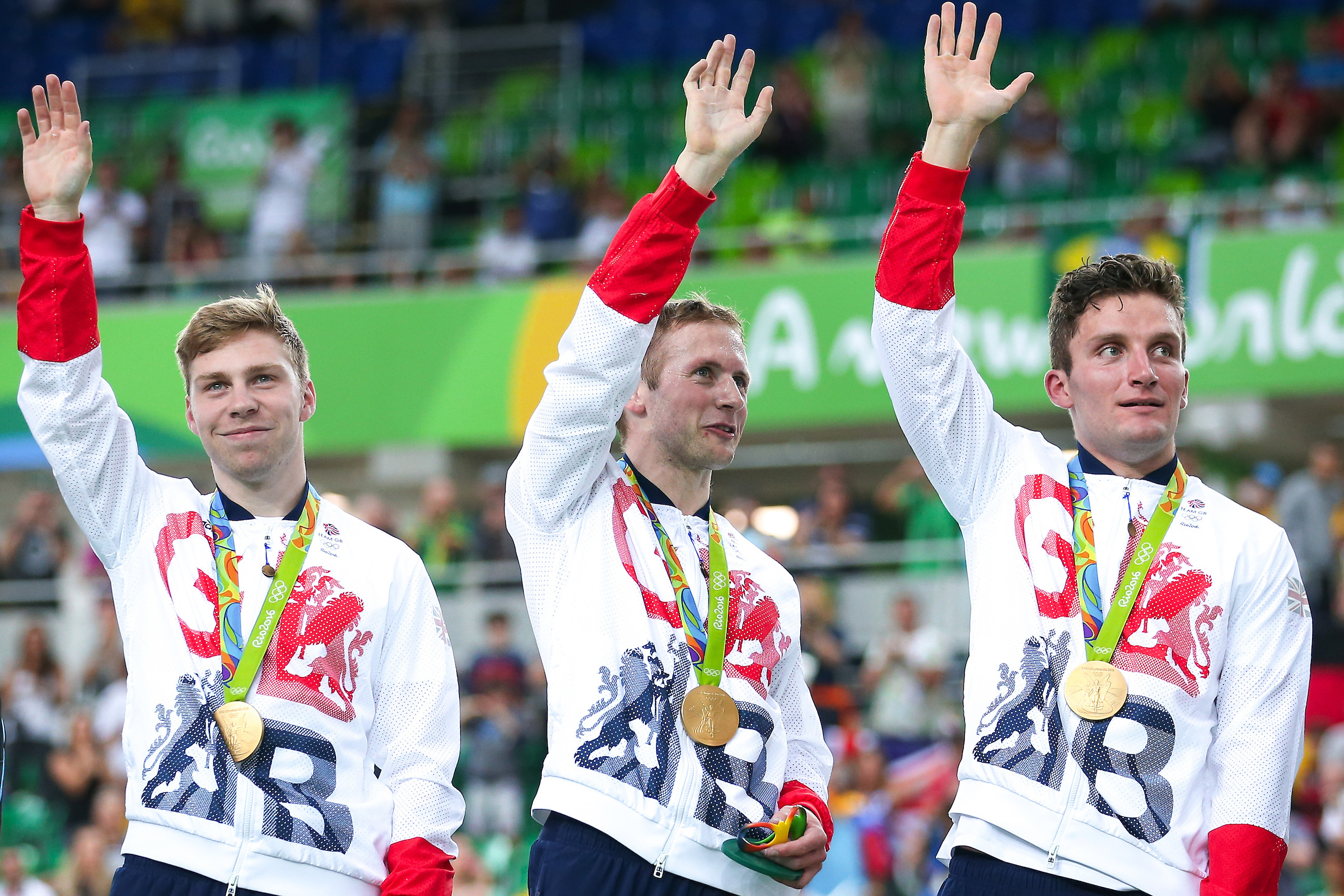 Left to right. Philip Hindes, Jason Kenny and Callum Skinner.