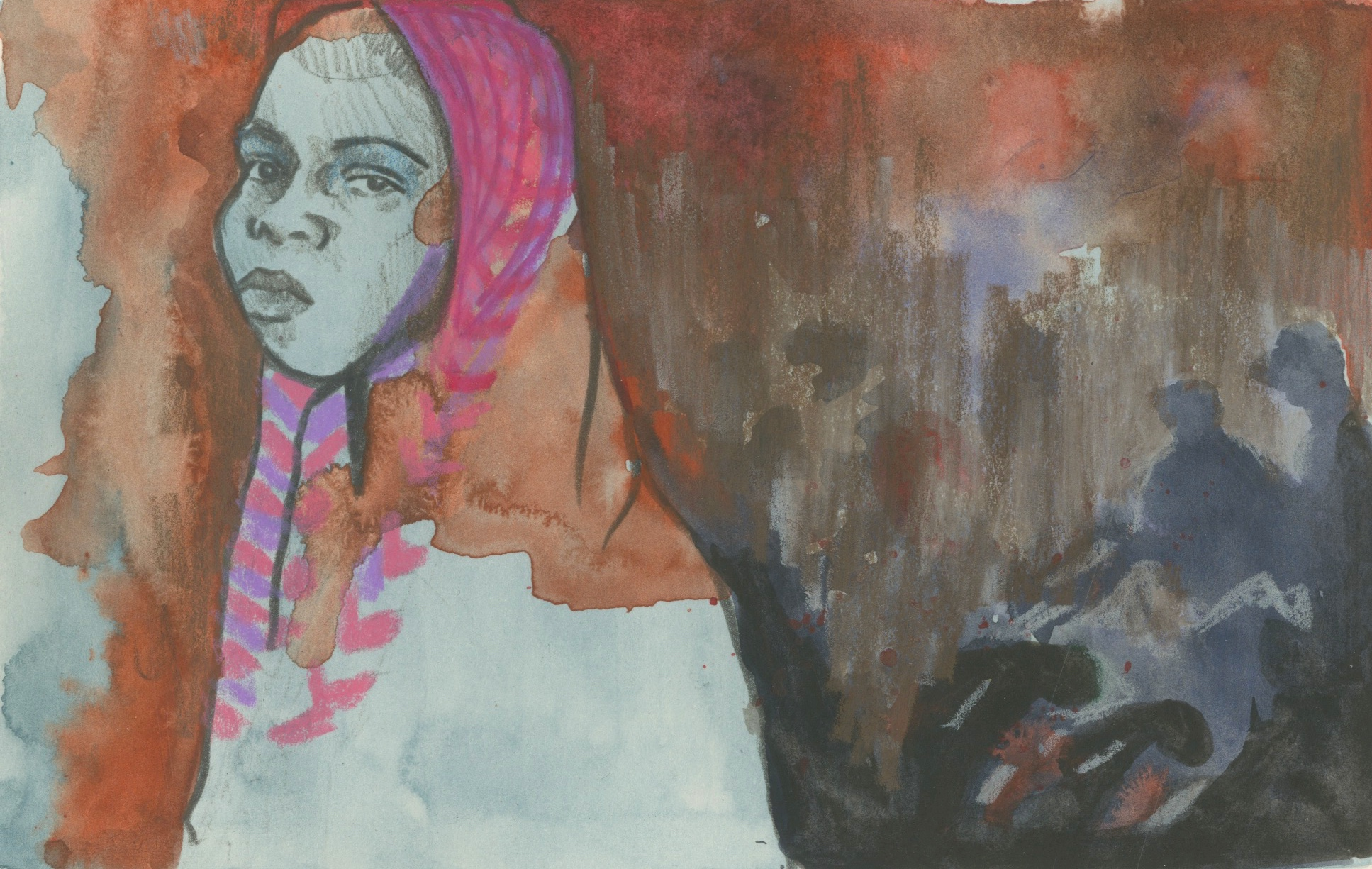 03/04/1517 year old Halima, who walked for five days to escape Boko Haram killers in Gwoza, northeastern Nigeria. At the time of drawing this sketch, Halima's mother is missing