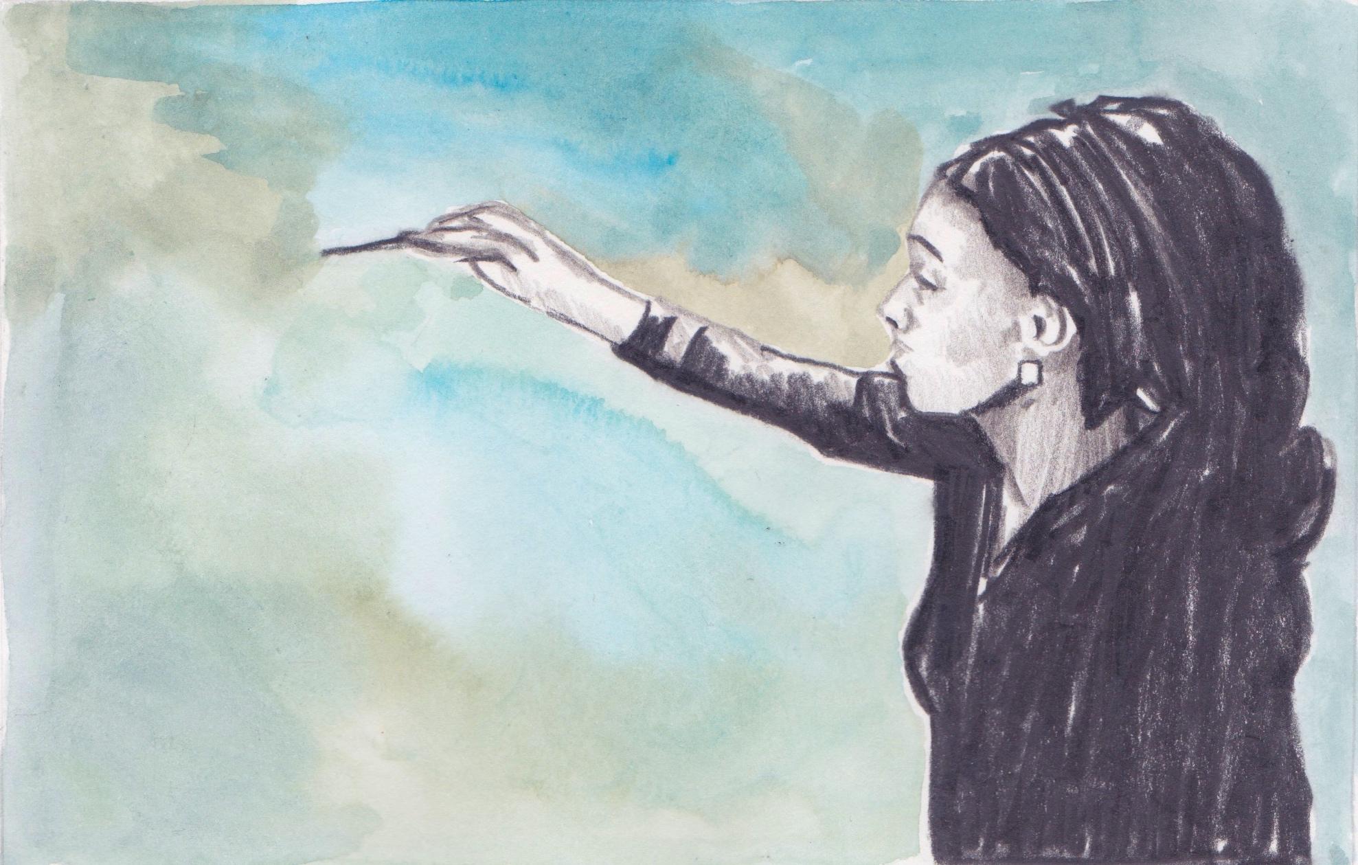 20/05/15 Award-winning Congolese artists Rhode Bath-Scheba Makoumbou displays her paintings at an exhibition in Brussels