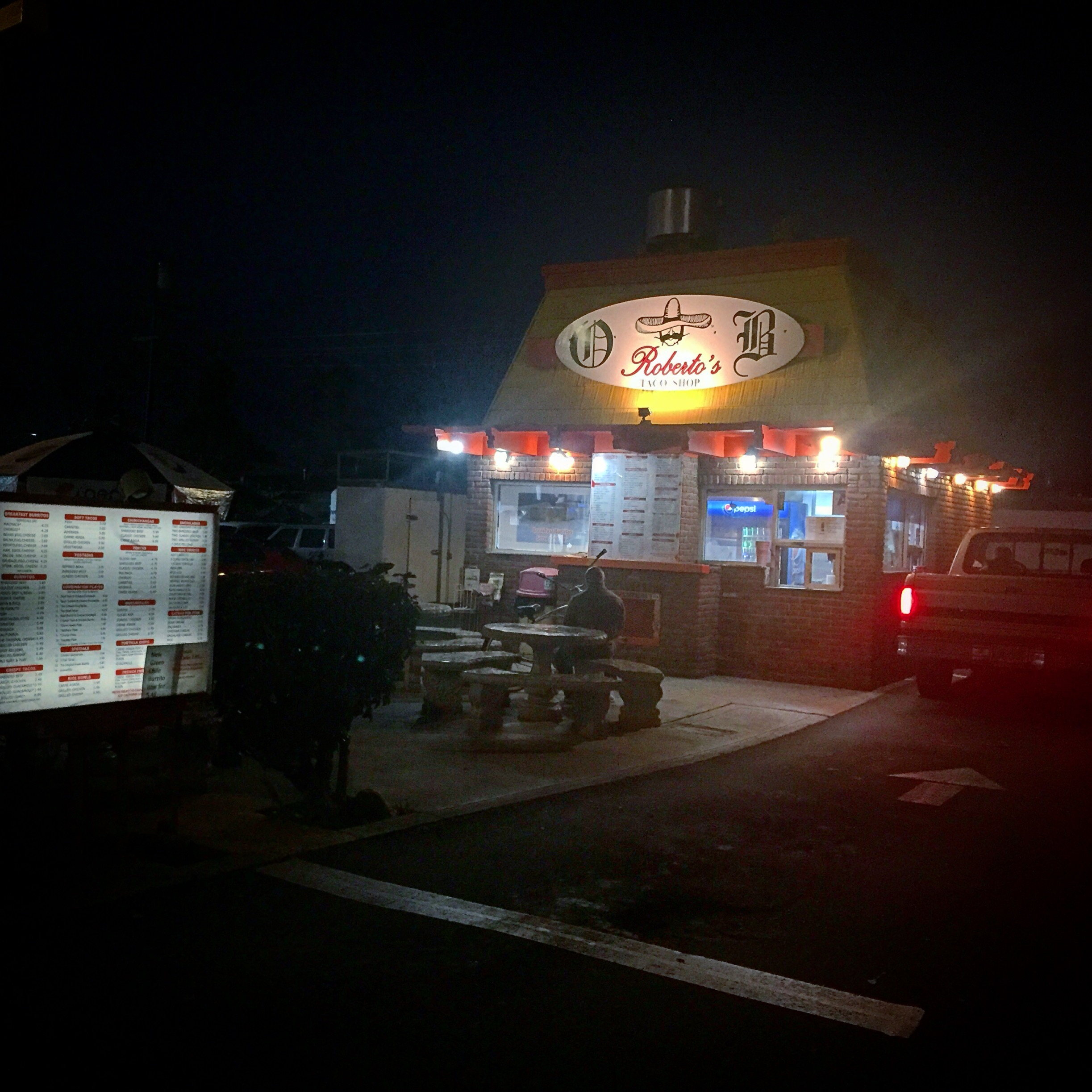 "The quintessential late night drive-thru fast food in San Diego is Roberto's or one of his ""cousin's"" joints. First opened in 1964 in San Ysidro  Roberto's is a culinary icon in SD. Too many imitators to name have spun off all ending in `bertos. Albertos, Alibertos, Filibertos, Aibertos, Gualbertos, Jilbertos, Hilbertos, Adalbertos, Roybertos, Rambertos, Hambertos, Humbertos, Rubertos, and Rolbertos, and my personal fav, Juan Bertos. Open 24 hours - who amongst us hasn't made the late night stop (read drunken) for a wet bean and cheese burrito or 5 rolled tacos w guacamole at least once. This Robertos is in OB, my favorite little beach community."