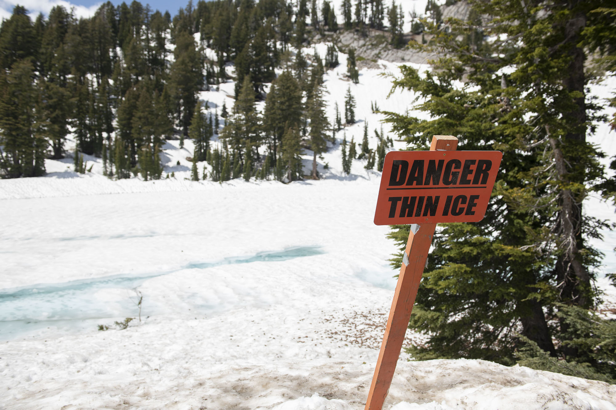 Danger. Thin Ice. Lassen Volcanic National Park