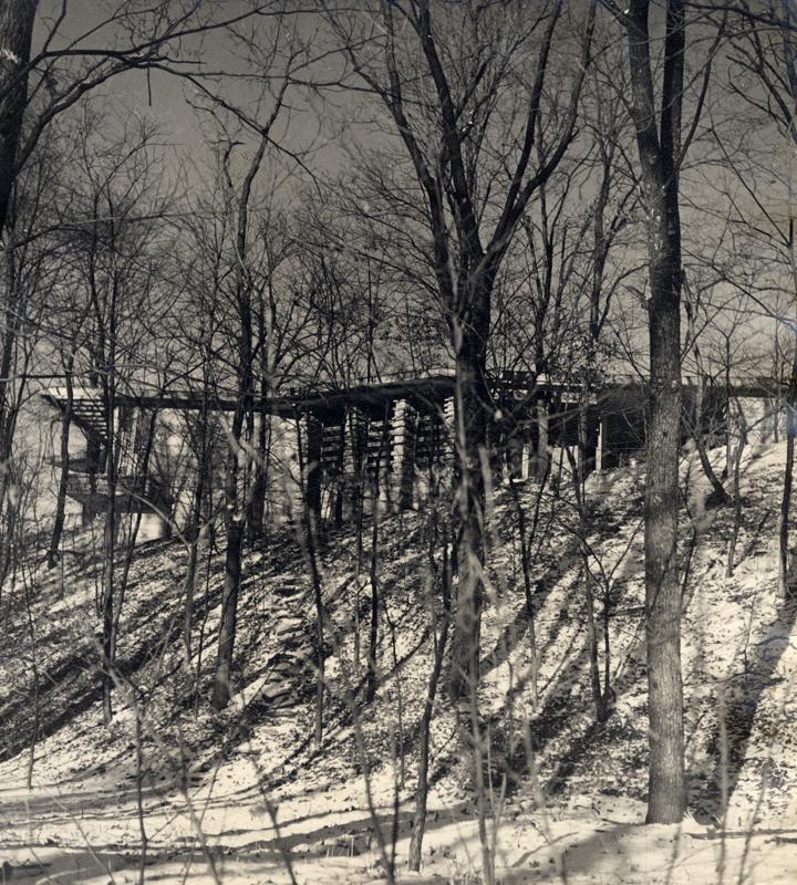 Fig. 2 > Gunning House from ravine below