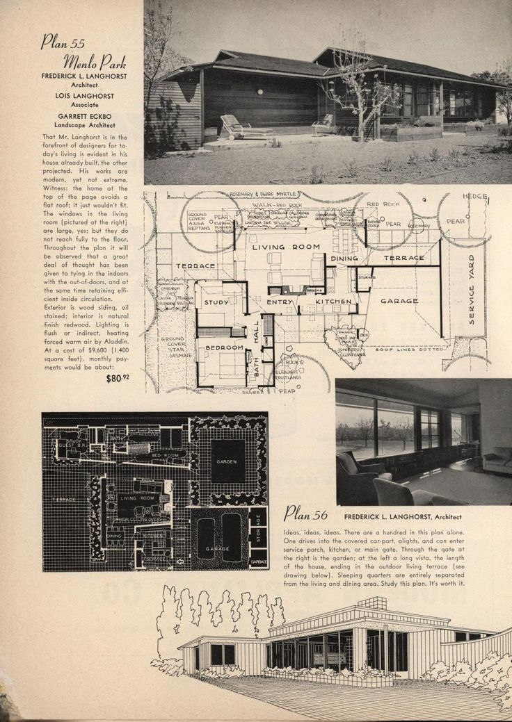 """Page from 1946 """"California Plan Book"""" crediting Fredrick Langhorst as """"Architect"""" and relegating Lois Langhorst as """"Associate."""""""