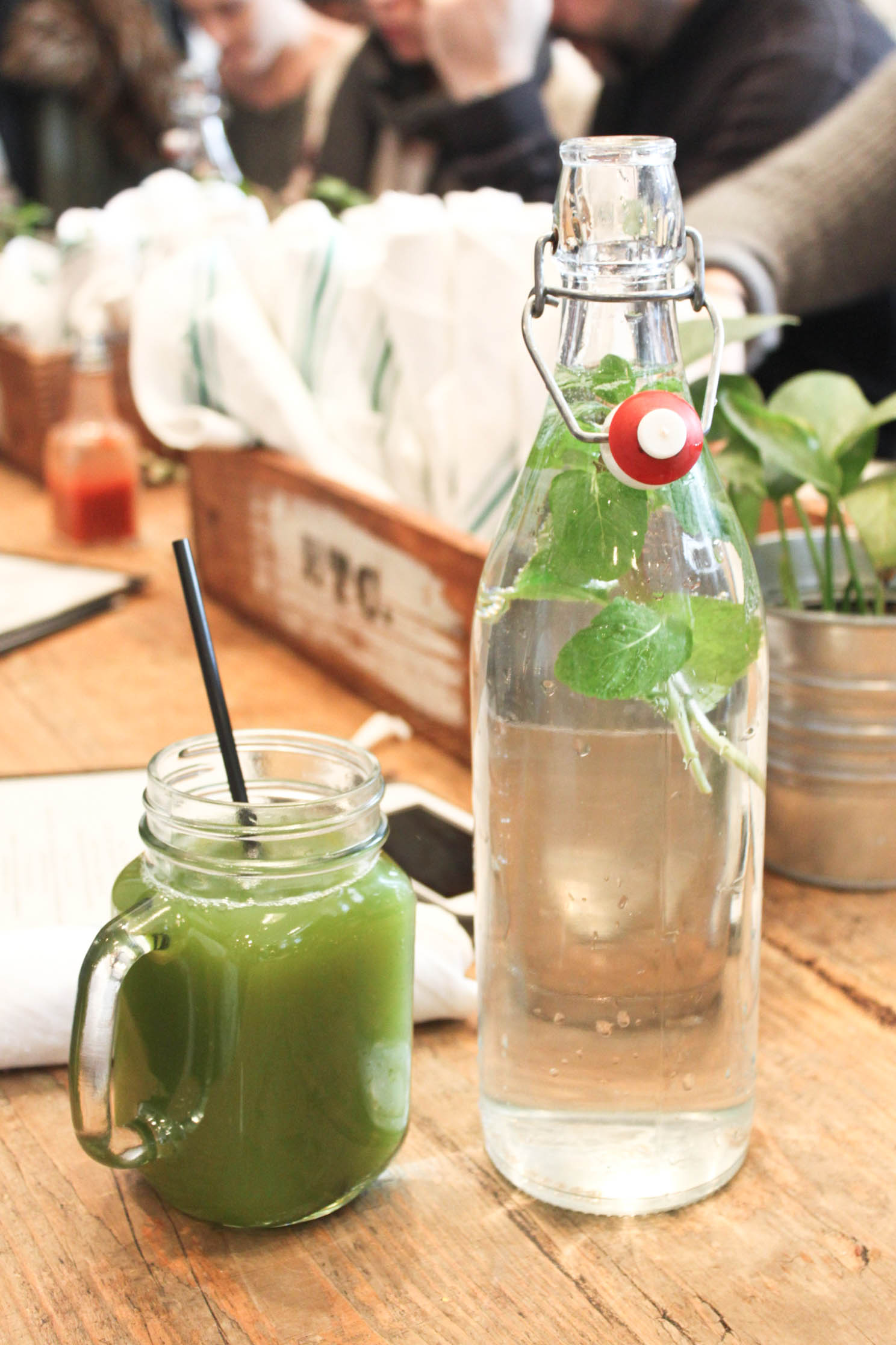 Try a fresh pressed juice and enjoy mint infused water.