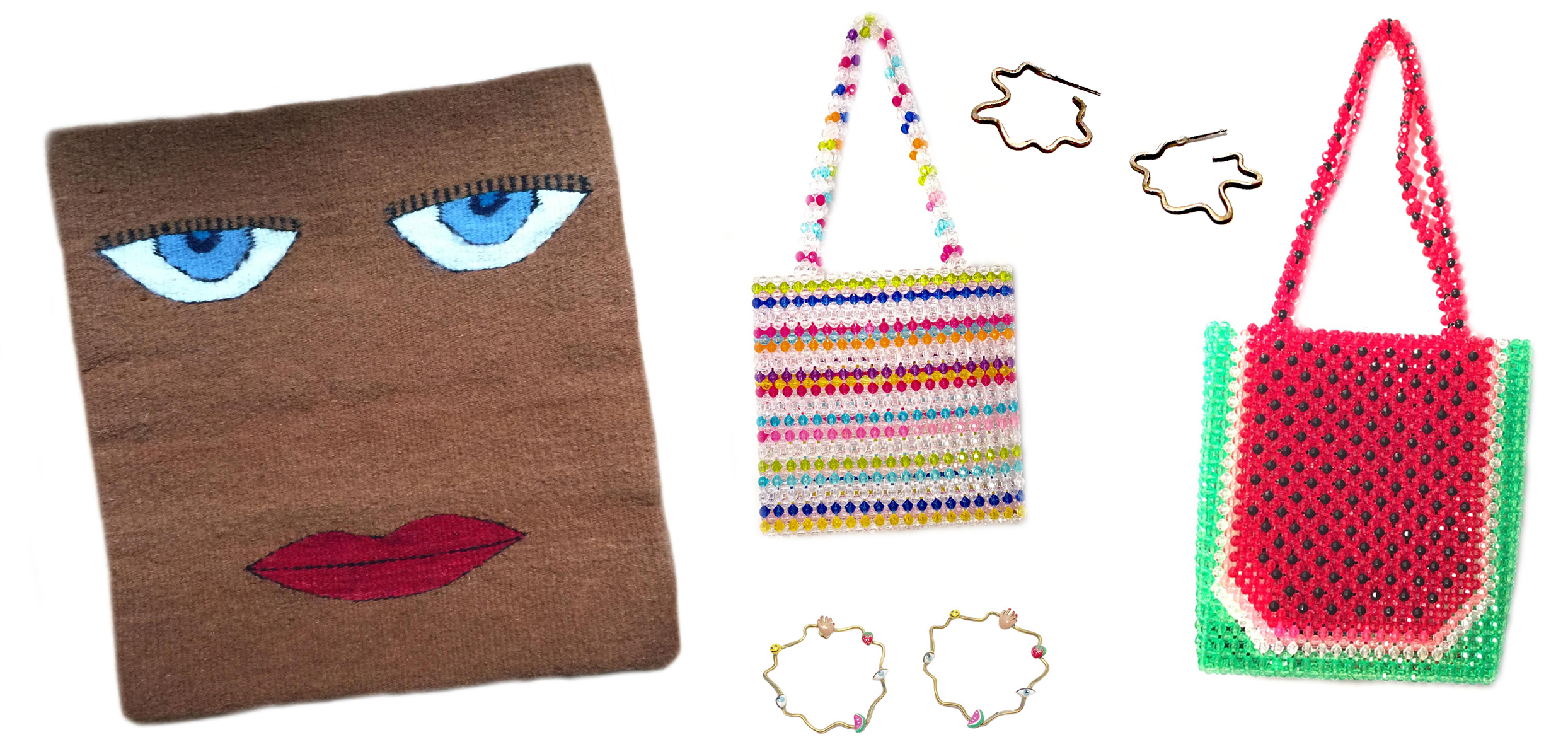 Pillow cover, purses, and earrings can all be purchased on susanalexandra.com