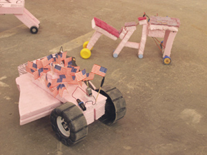doomp doomp  (installation view) motorized sculptures, wood panel paintings, mixed media 2002