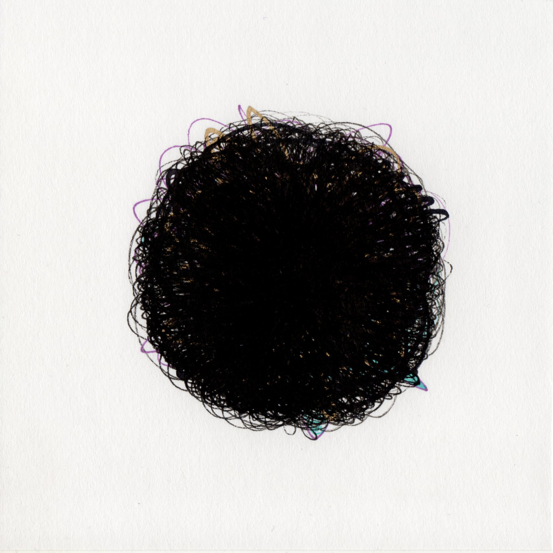 "blob 6  pen on paper 5"" x 5"" 2014"