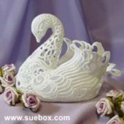 """3D Lace Swan"" machine embroidery design and image by  Sue Box Creations"