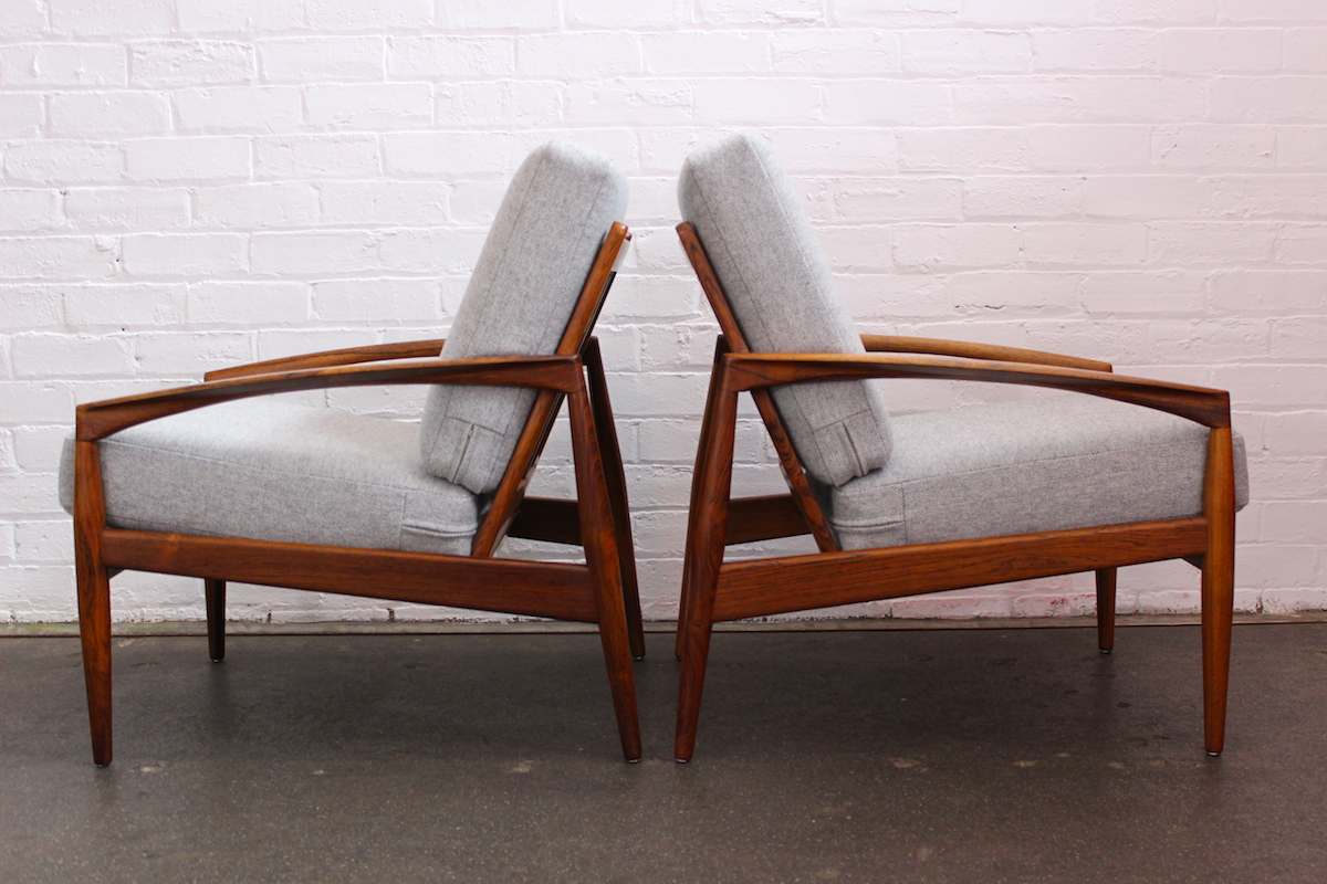 Pair of Kai Kristiansen 'paper knife' lounge chairs