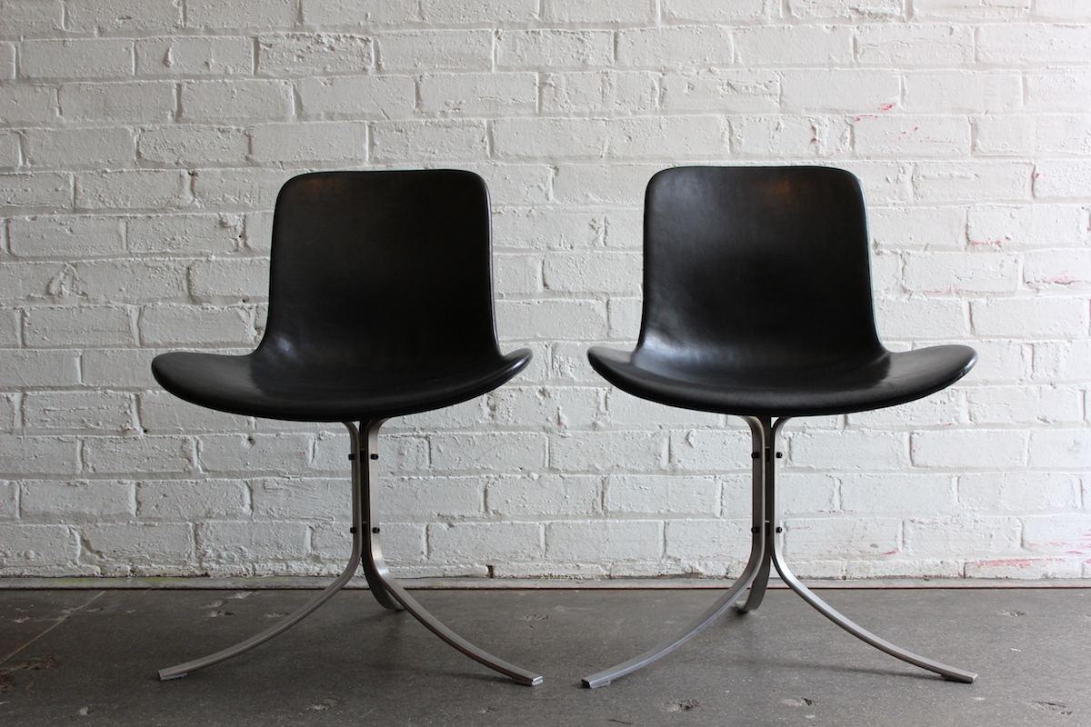 Pair of PK9 chairs - designed by Poul Kjaerholm - manufactured by Fritz Hansen, Denmark.