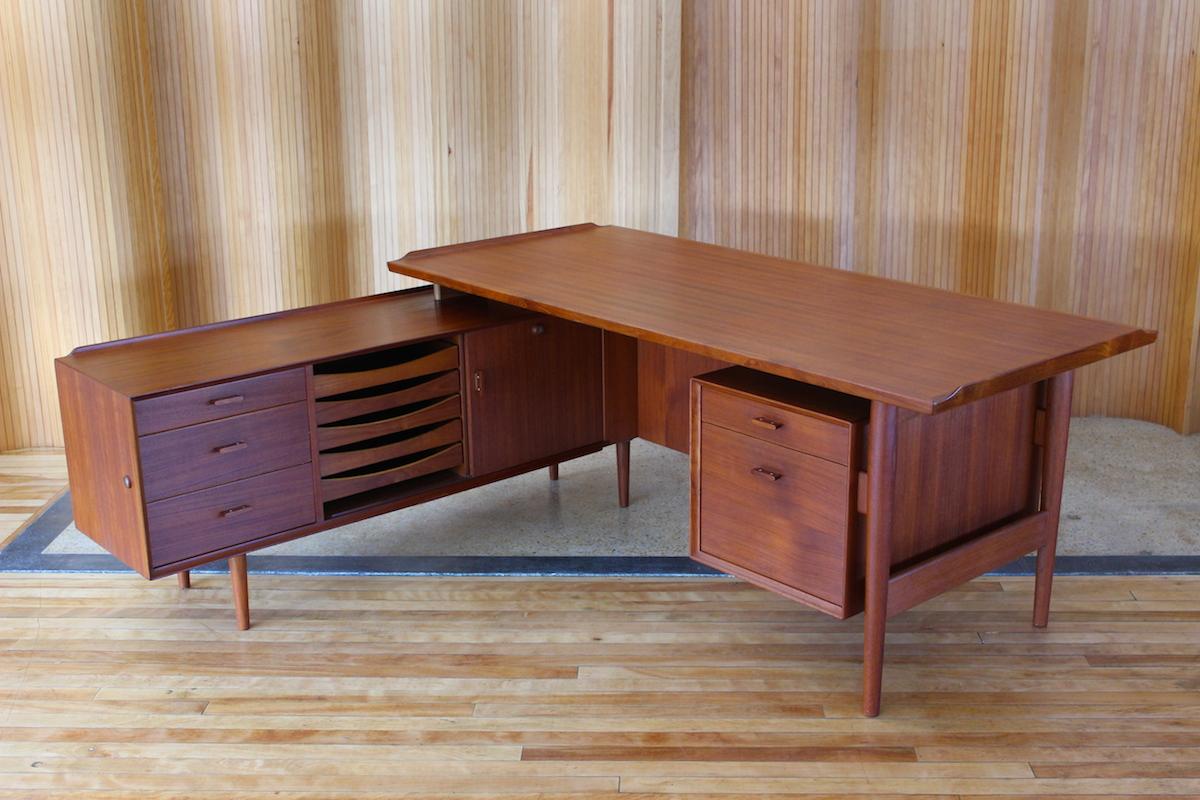 Arne Vodder teak desk with sideboard return - manufactured by Sibast Furniture, Denmark.