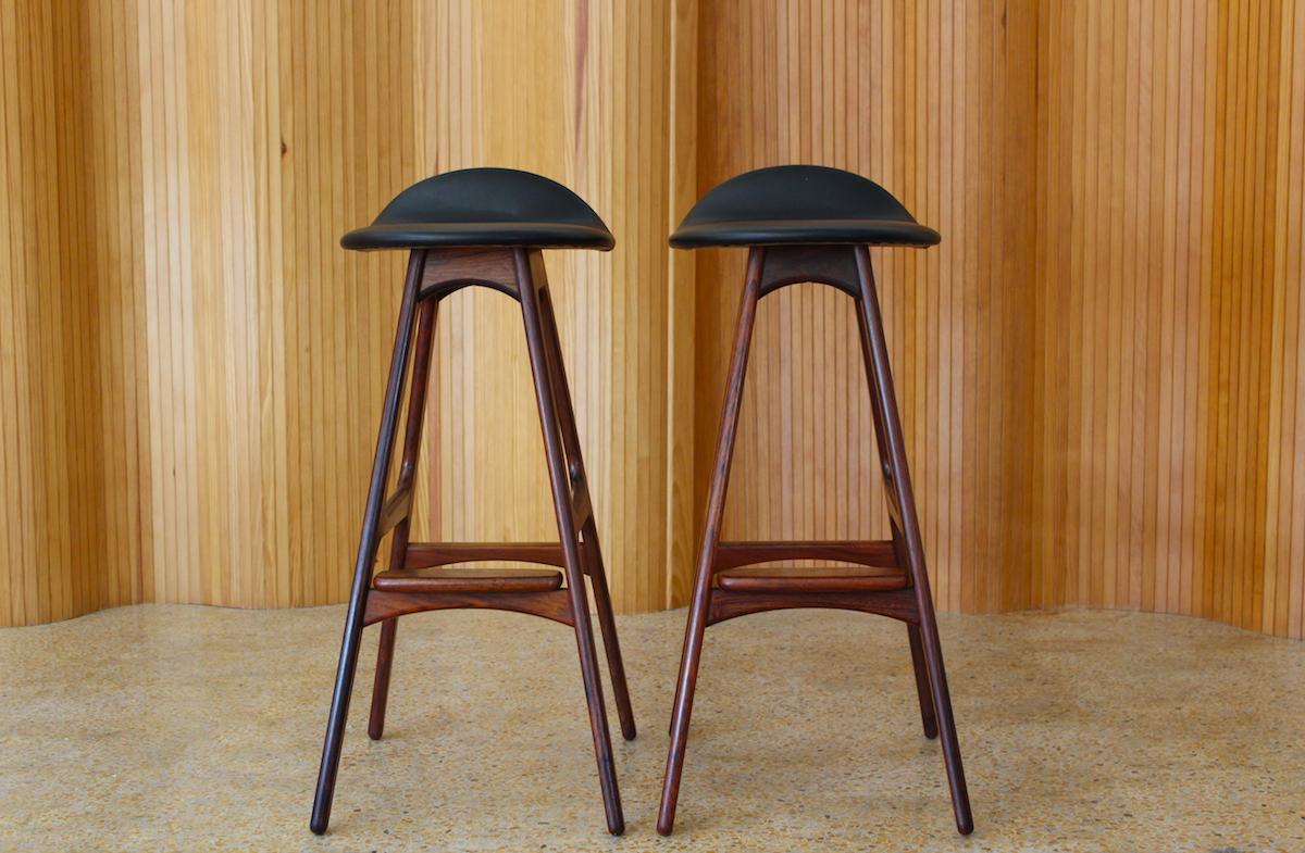 Pair of rosewood Erik Buch bar stools