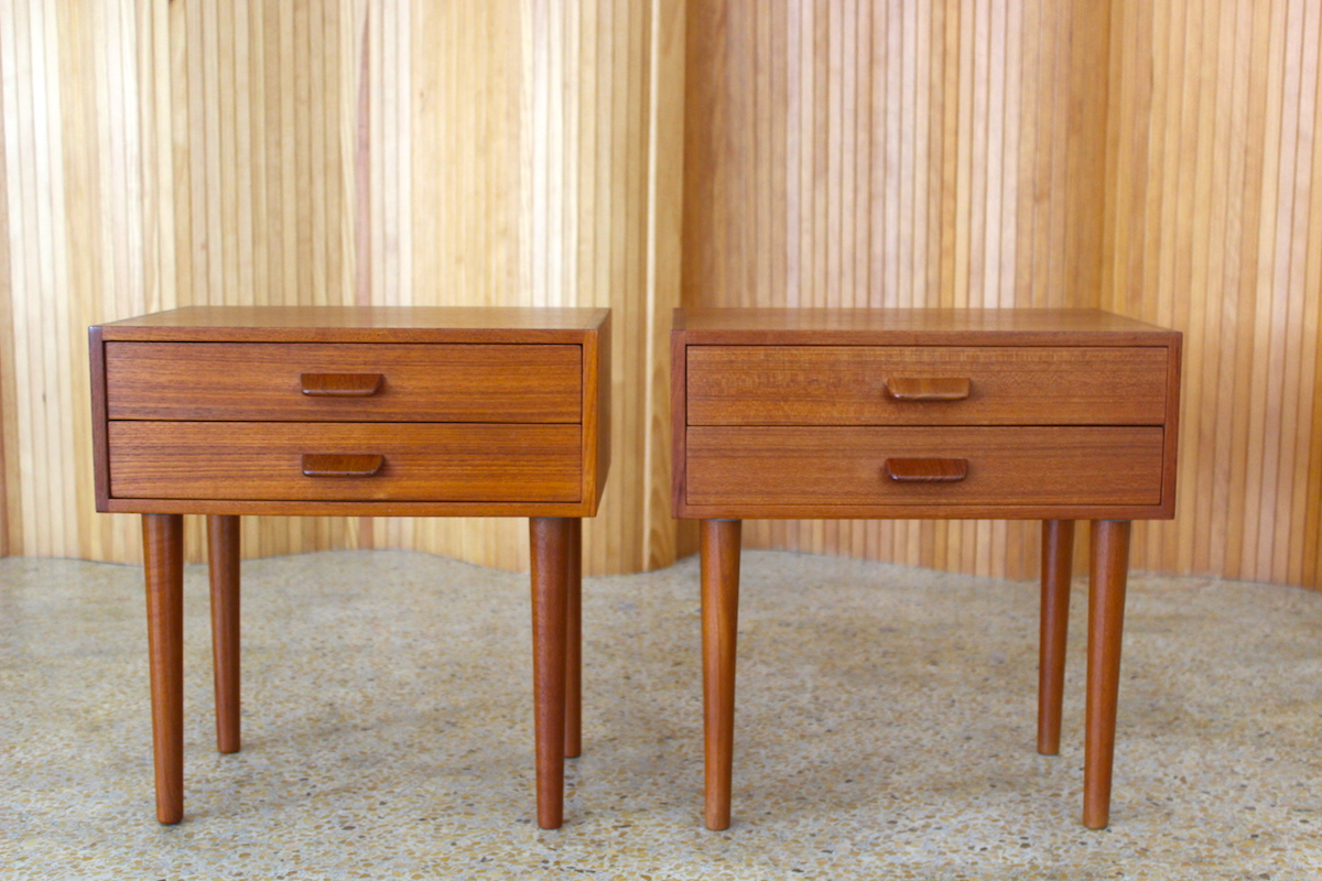 Pair of Poul Volther teak bedside drawers