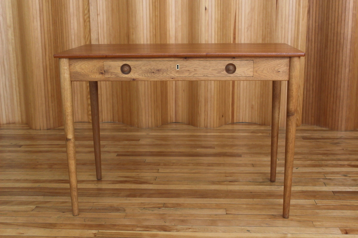 Hans Wegne oak and teak writing desk - Ry Mobler Denmark