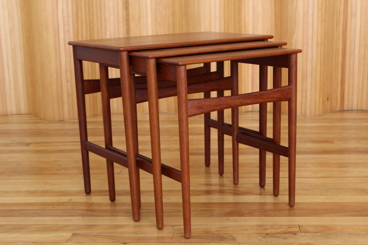 Hans Wegner model AT40 teak nest of tables Andreas Tuck Denmark