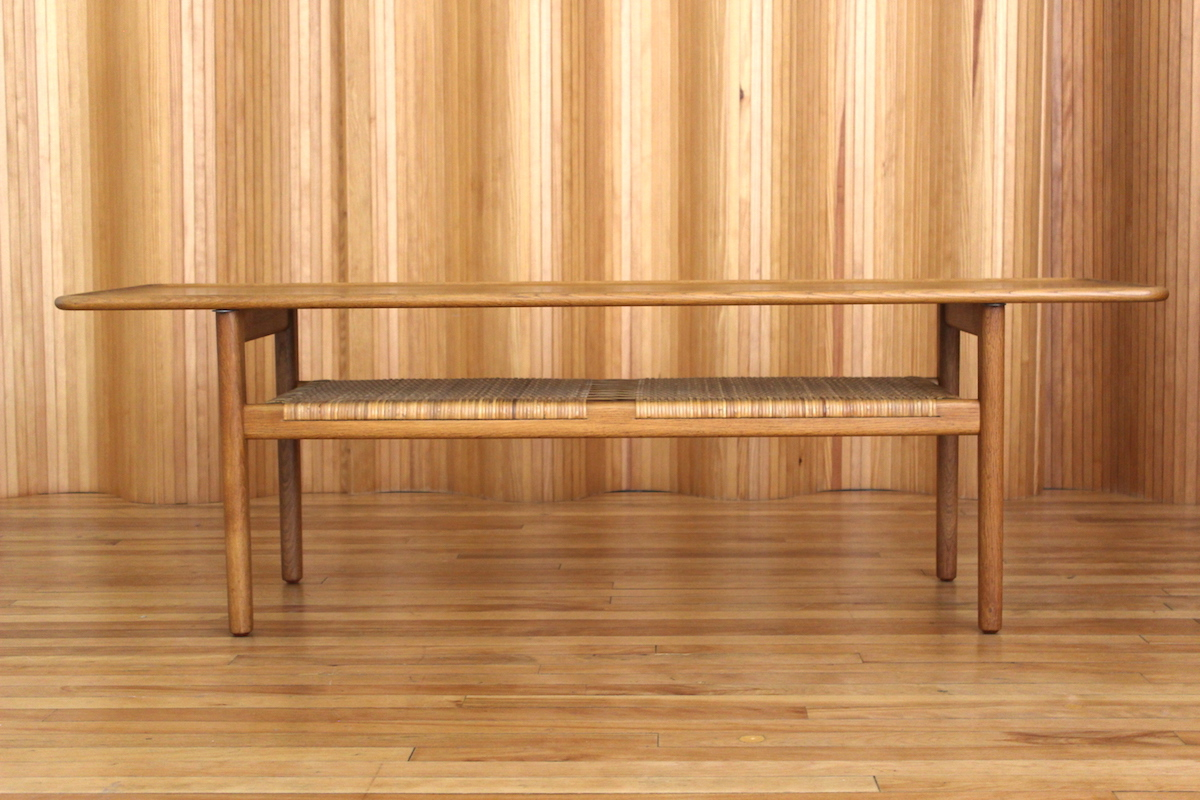 Hans Wegner model AT10 oak and rattan coffee table Andreas Tuck Denmark