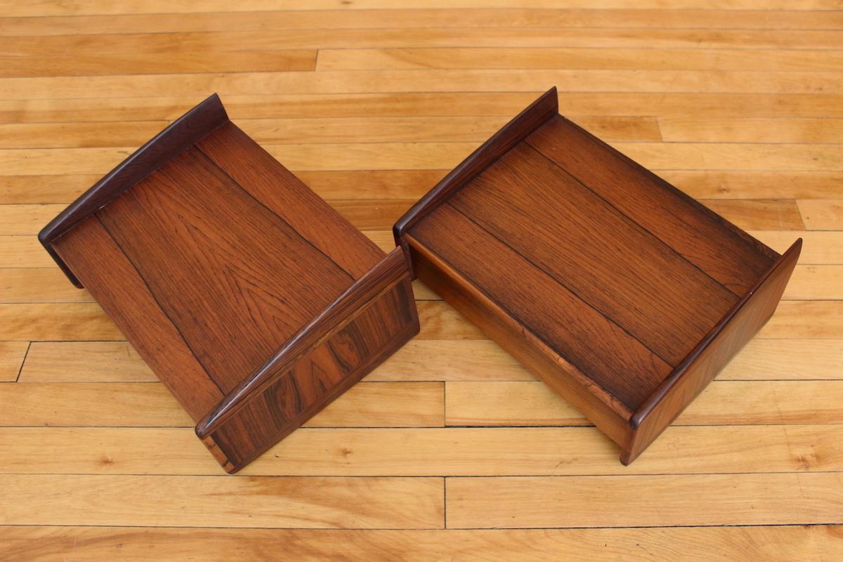 Melvin Mikkelsen rosewood wall mounted bedside drawers