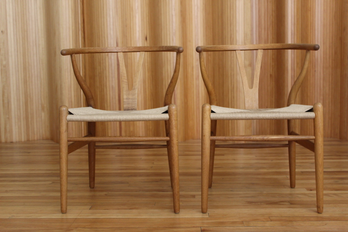 Pair of Hans Wegner CH24 'wishbone' chairs, Carl Hansen & Son, Denmark