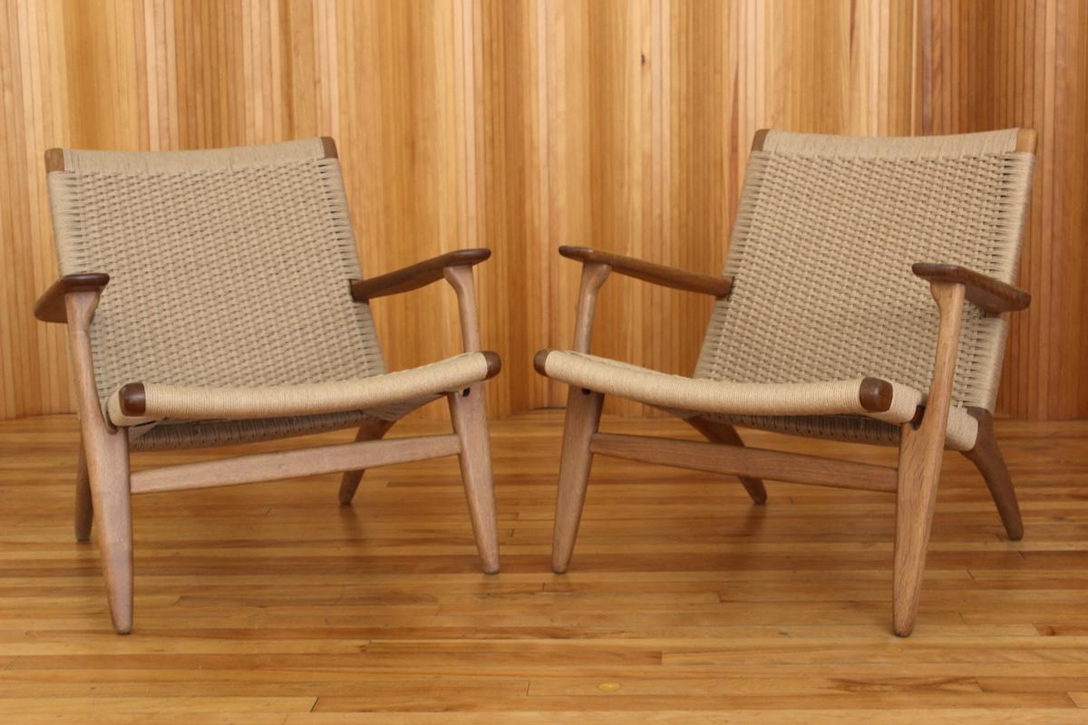 Pair of Hans Wegner CH25 lounge chairs Carl Hansen & Son Denmark