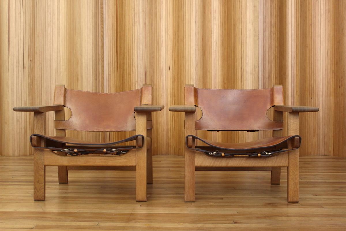 Pair of Borge Mogensen 'Spanish' chairs Fredericia Stolefabrik Denmark
