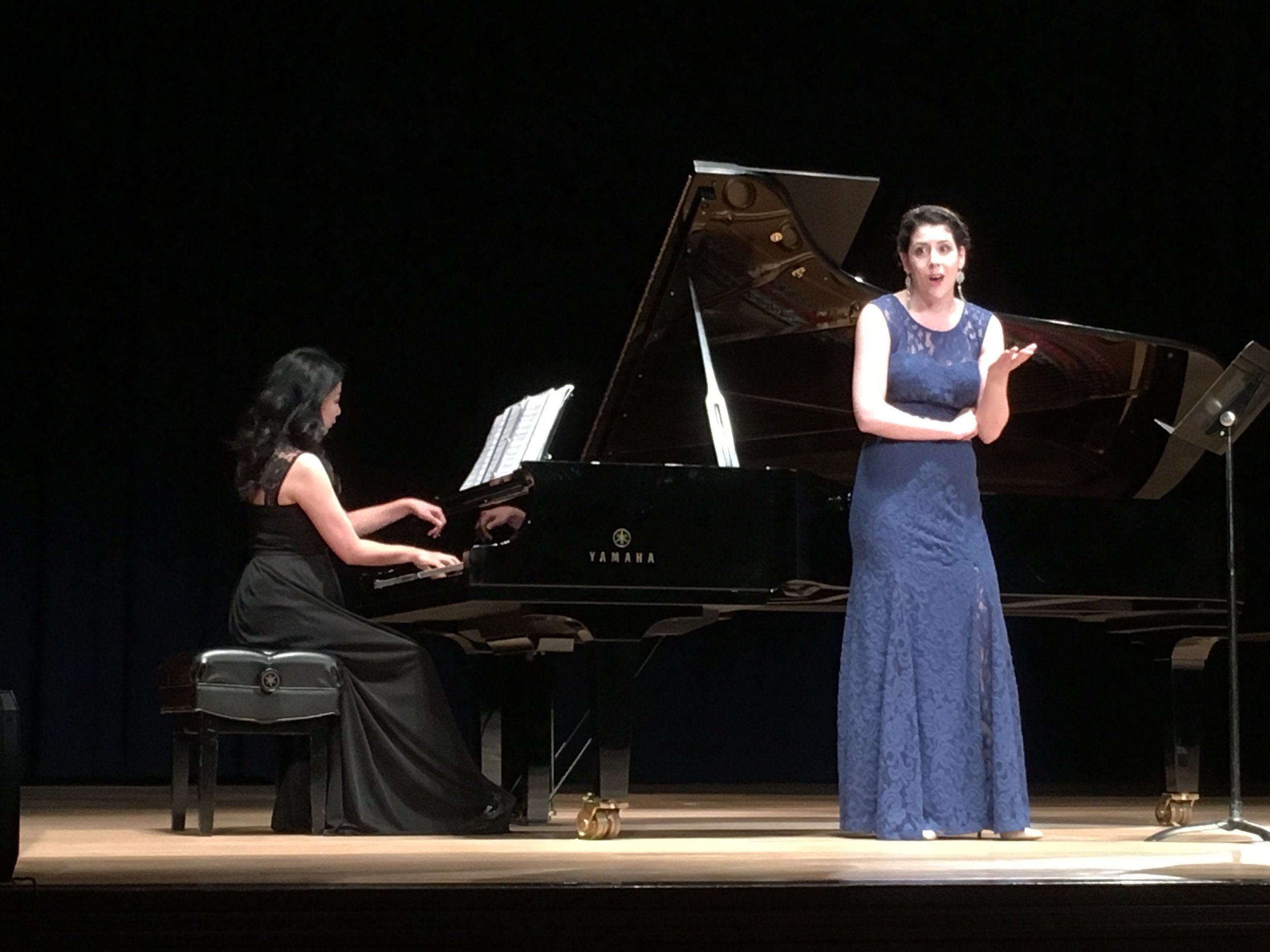 Performing with Mina Osako at the Yamaha Music School of Boston Faculty Recital (2016). Photo by Paul Sayed.