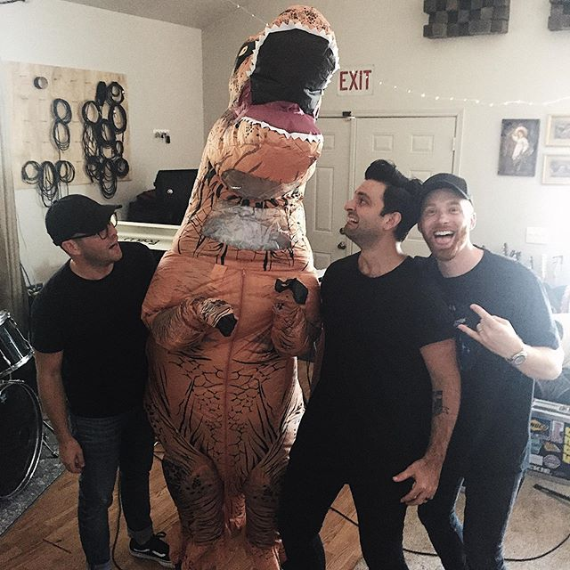 Things are about to get crazy at our release show at the High Watt ... Our mascot Mr. T is for sure gonna make a crowd surfing worthy appearance! So much fun planned ... ticket link is in our bio🤘🏻🦖🧡 #HeyK #August28 #ReleaseShow