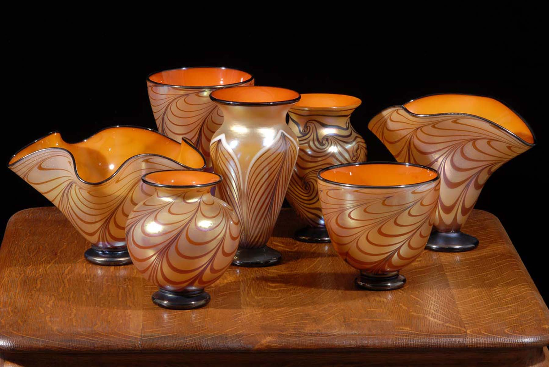 Tuscan Series with papaya interiors and gold luster decorated. cabinet vases.
