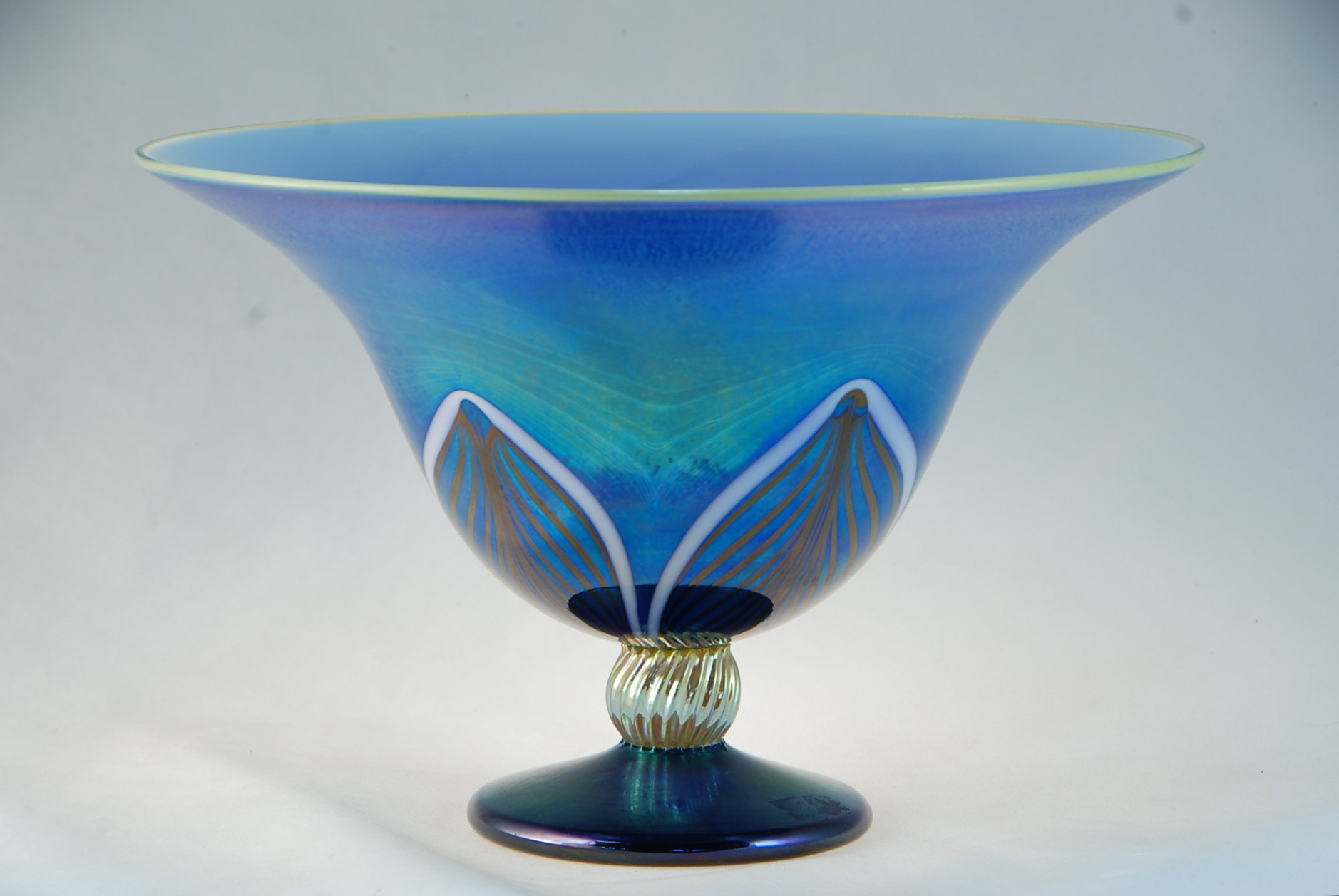 Classic Jewel stemmed Blue Luster Bowl  2017