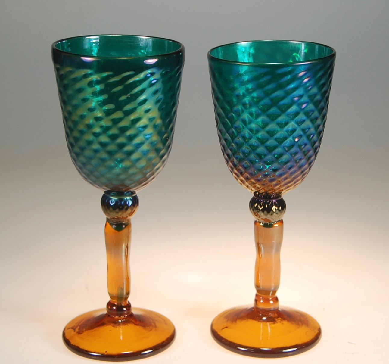 When furnaces go back on I practice on stem ware. Diamond water wine Teal/Amber