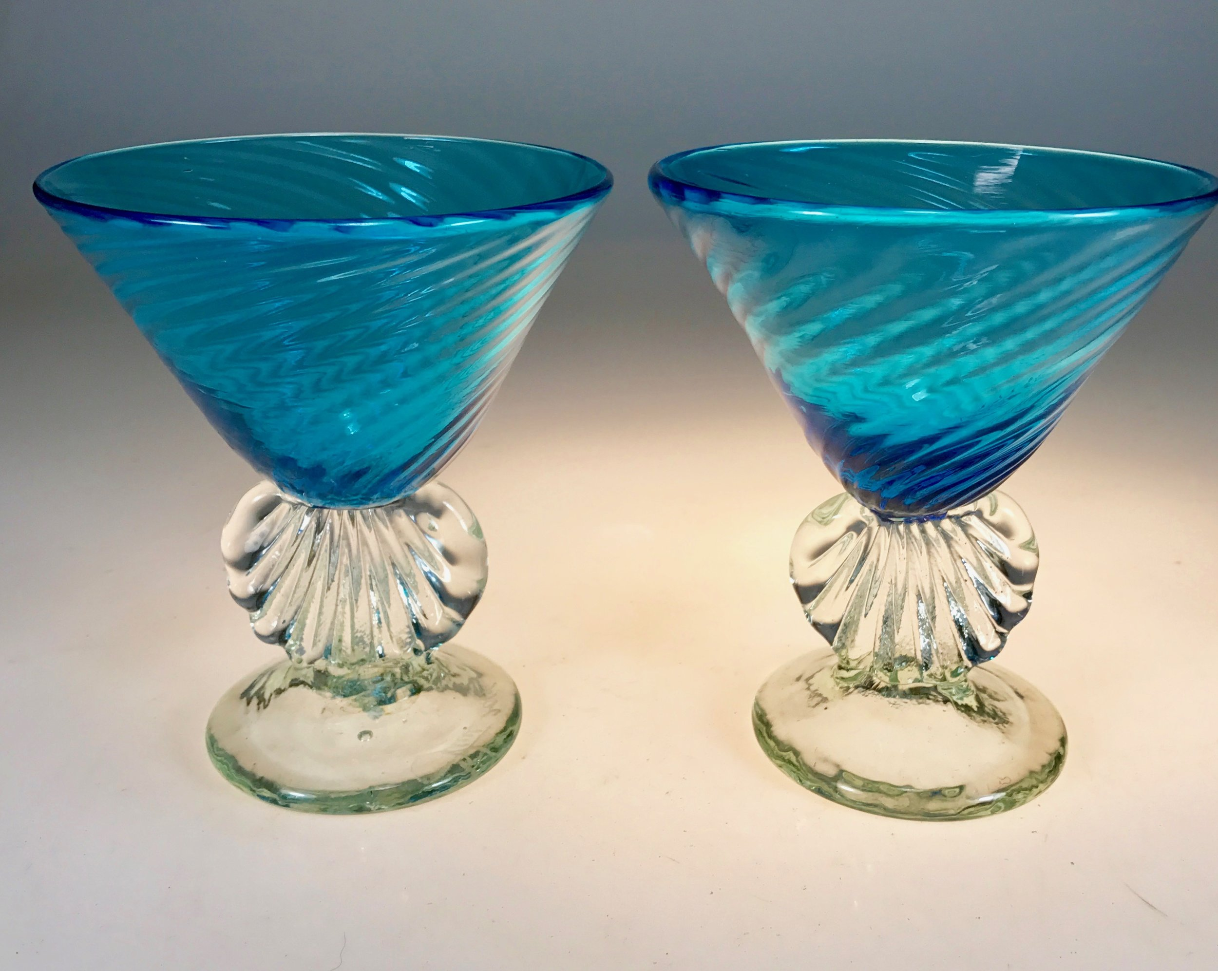 a Couple of my shell Martini glasses   strini art glass. 2017