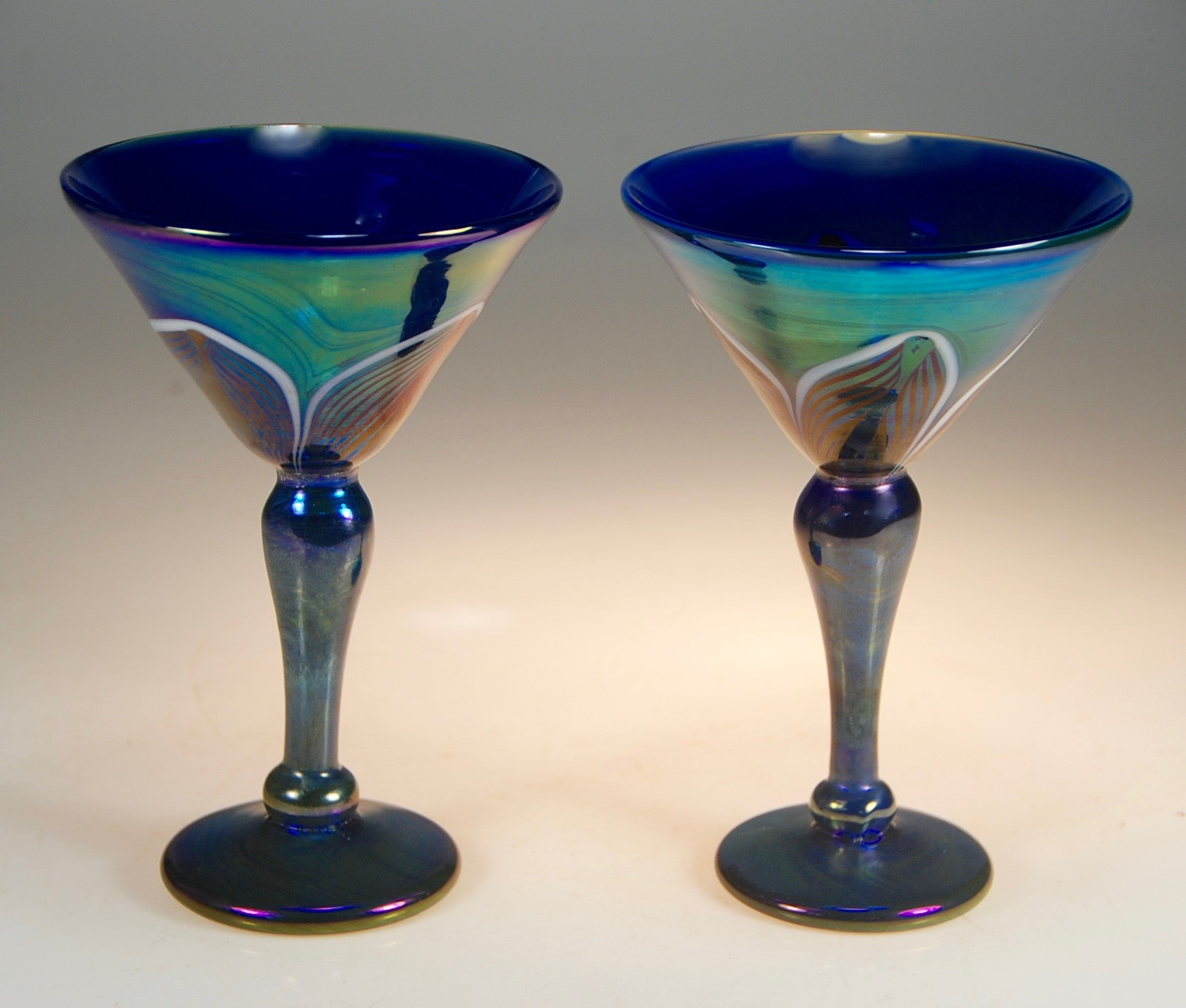 "5"" wide x 7.25"" tall   matching pair.   Strini Art Glass"
