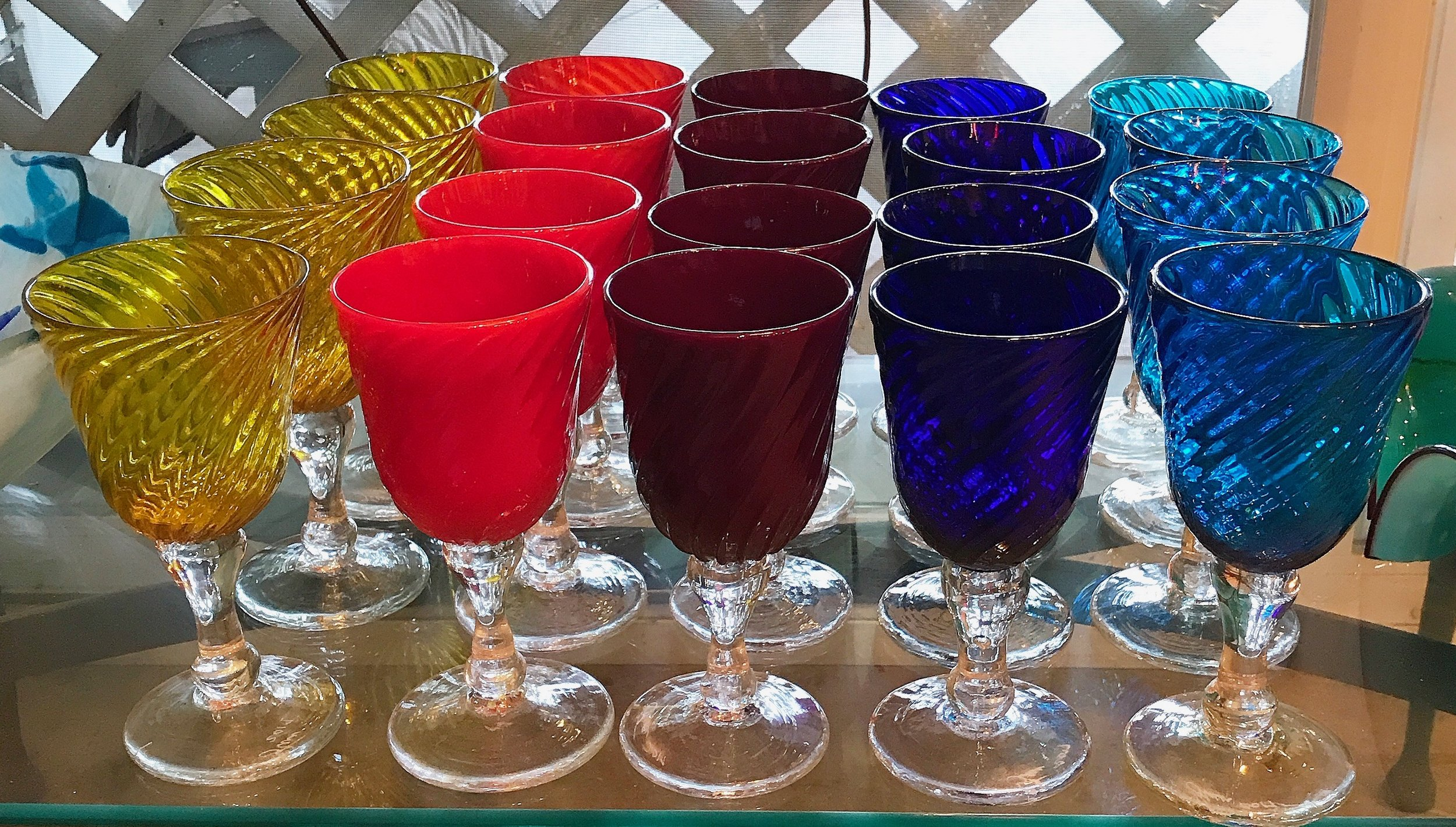 practice goblets.  Lino says one must be an accomplished goblet maker to be a master glass man.