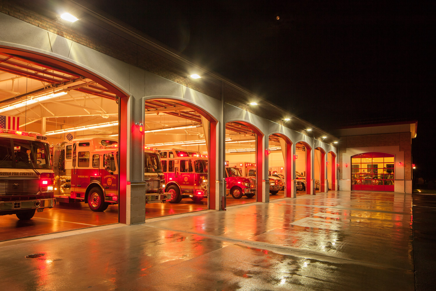one of many files used to create the final image, this one captures the exterior lights over the garage bays. As you can see the colors very different between the inside and out. In person it doesn't look this strange, so it is my job to make the colors match and look natural.